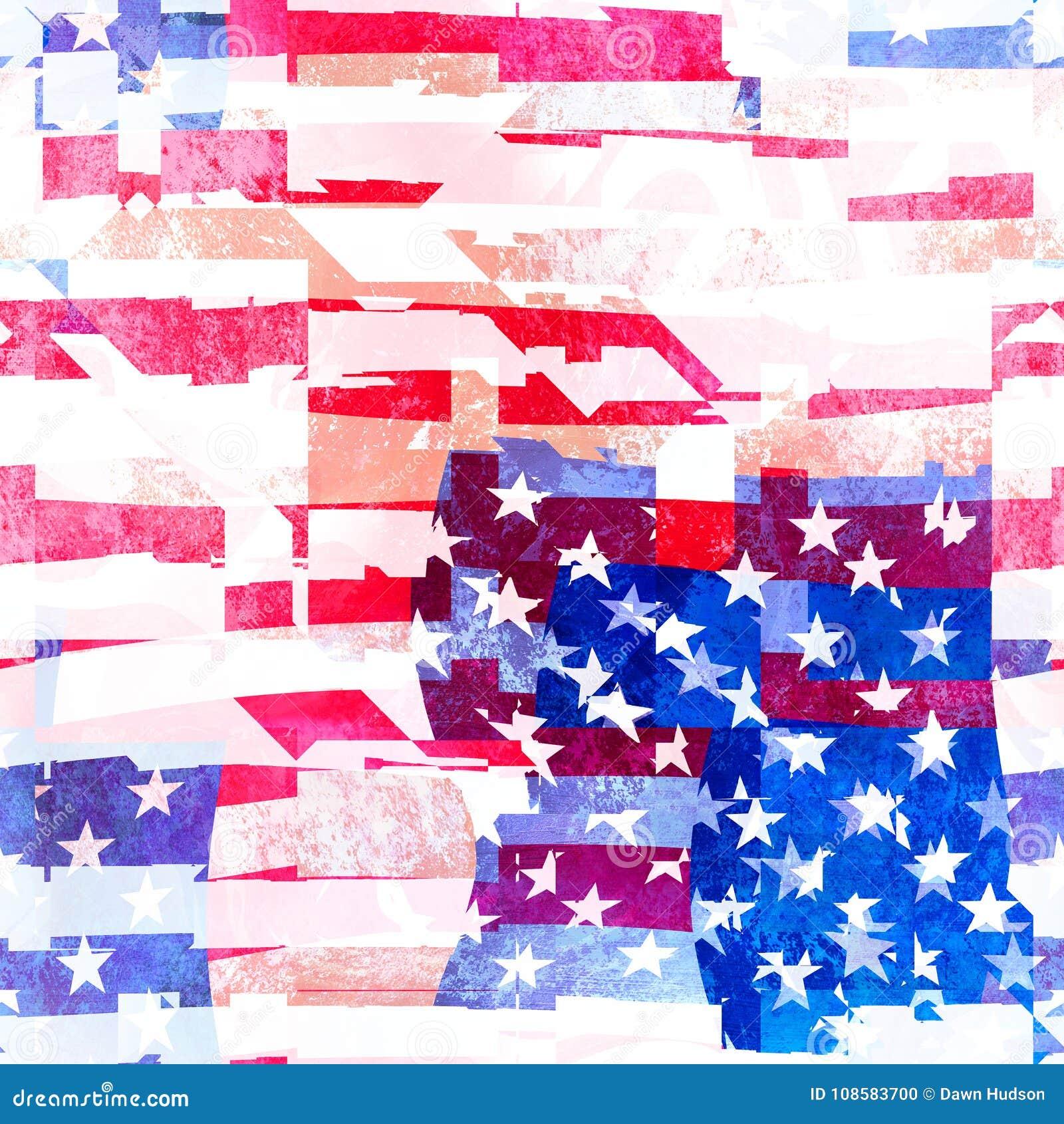 Het naadloze Amerikaanse Ontwerp van de Vlagcollage