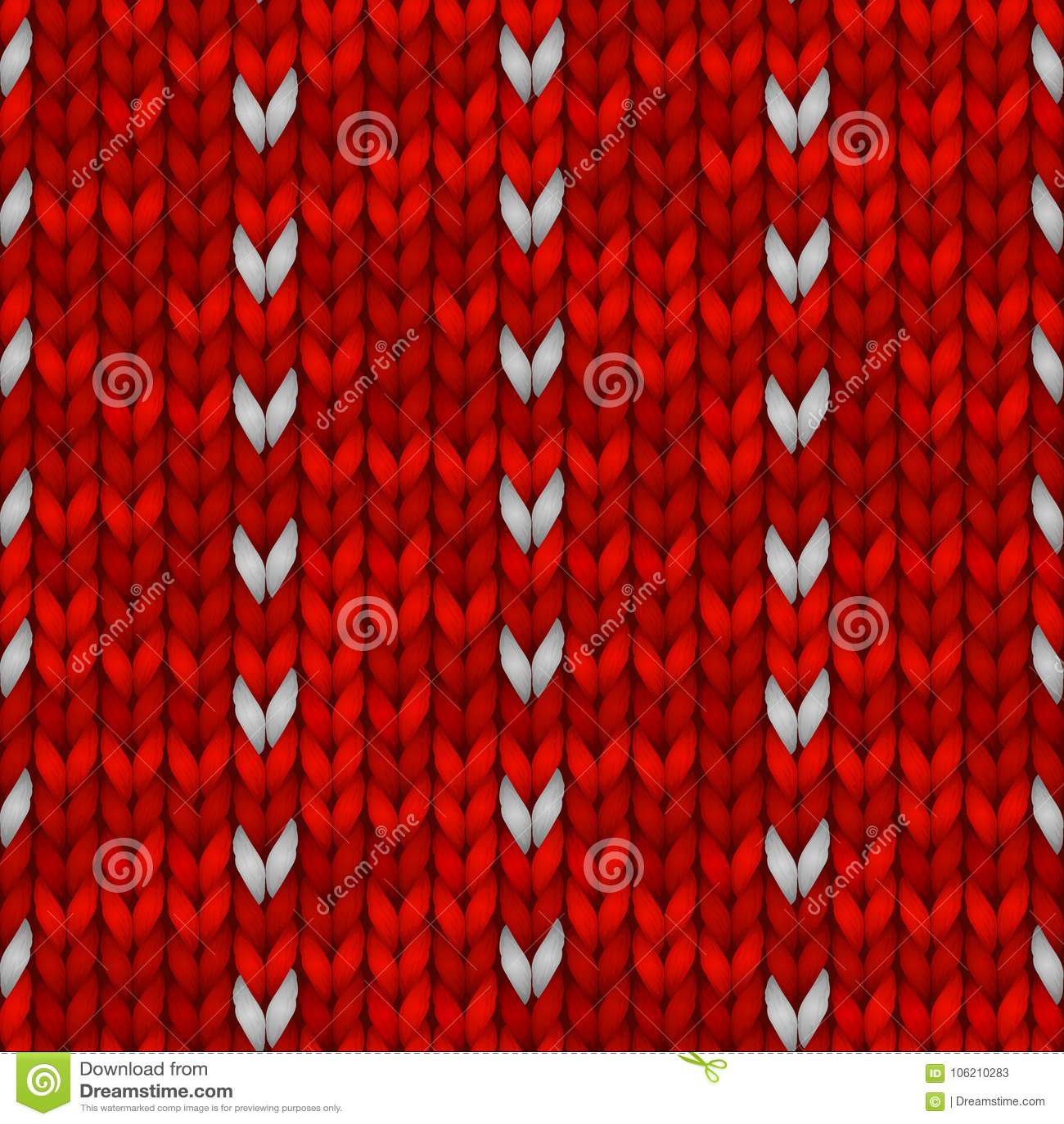 Het Naadloze Breiende Patroon van de de wintervakantie met Sneeuwvlokken Rood gebreid sweaterontwerp Vectorillustratie voor