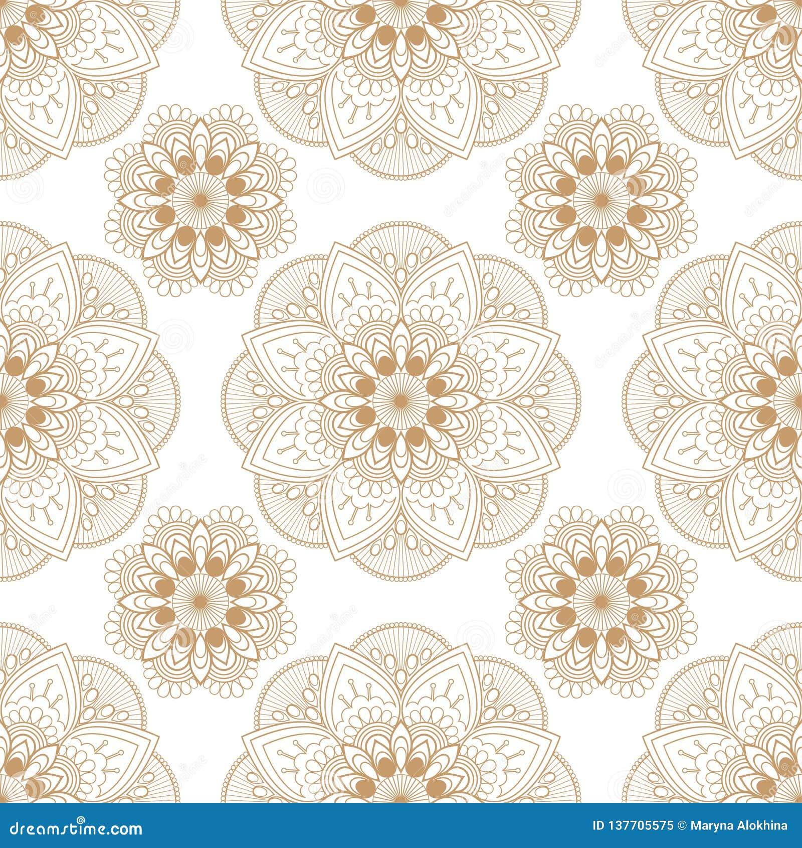 Het naadloze bruine beige bloemenkant van het mehndipatroon van de punten van de butadecoratie op witte achtergrond
