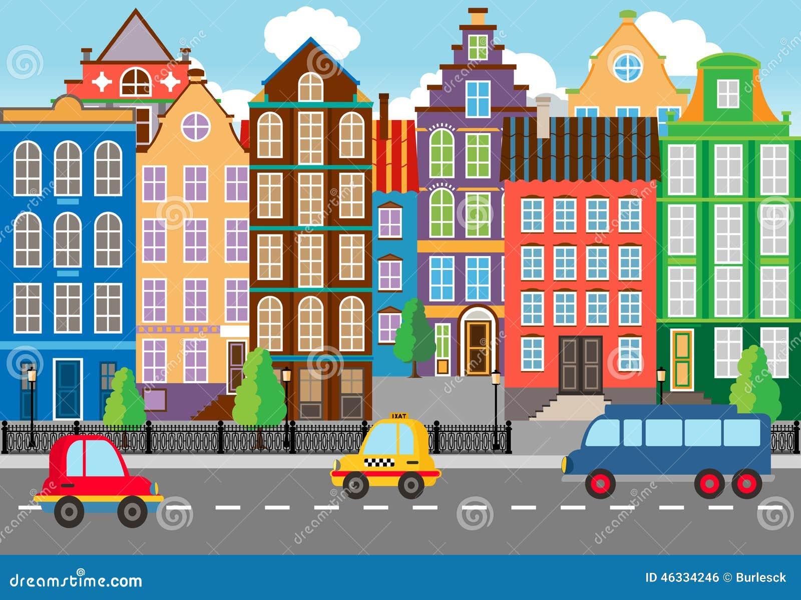 Het naadloze Cartooned-Grafische Stadsleven