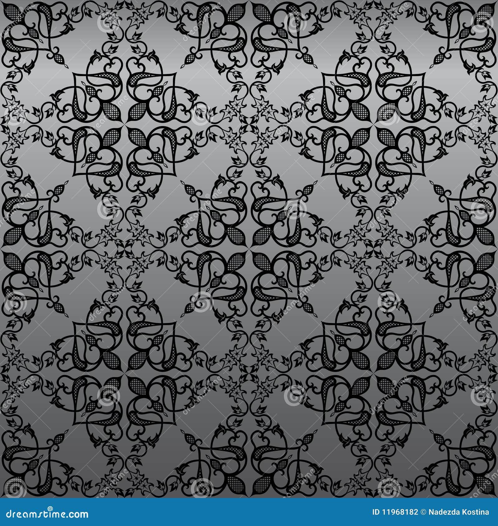 Het naadloze Gotische Behang van het Damast