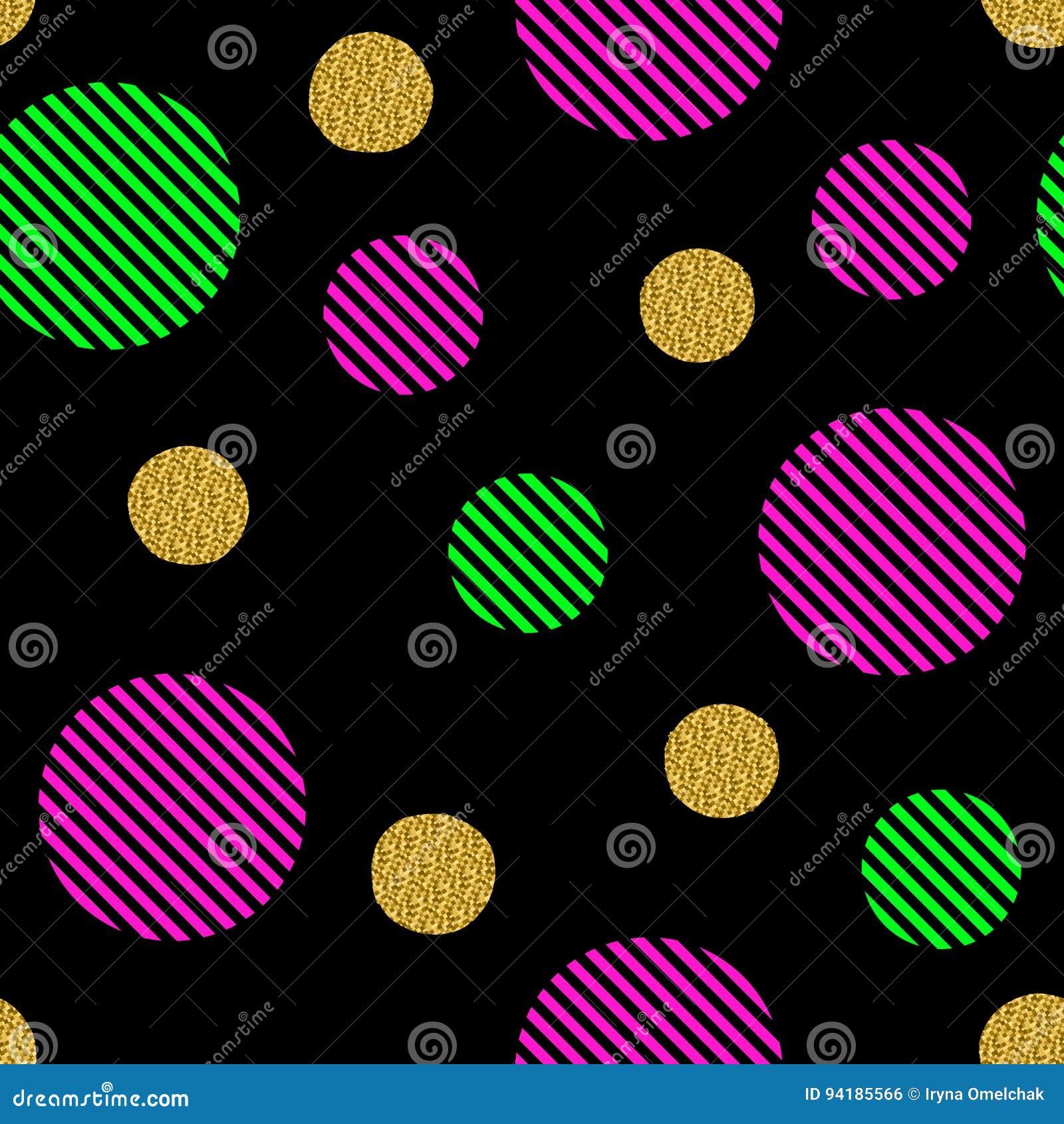 Het naadloze patroon met gouden schittert cirkels en gekleurde strepen
