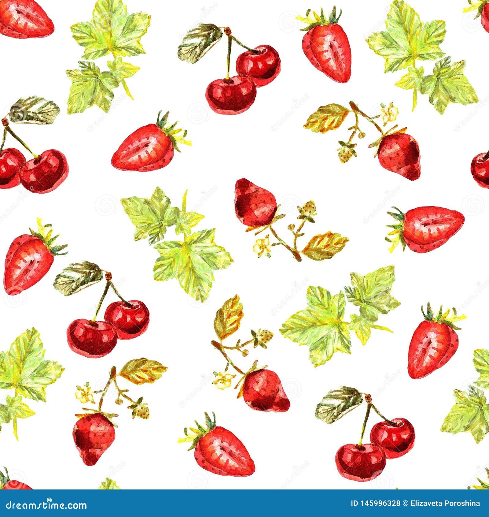 Het naadloze patroon met watercolourhand schilderde bladeren, aardbeien, kersen