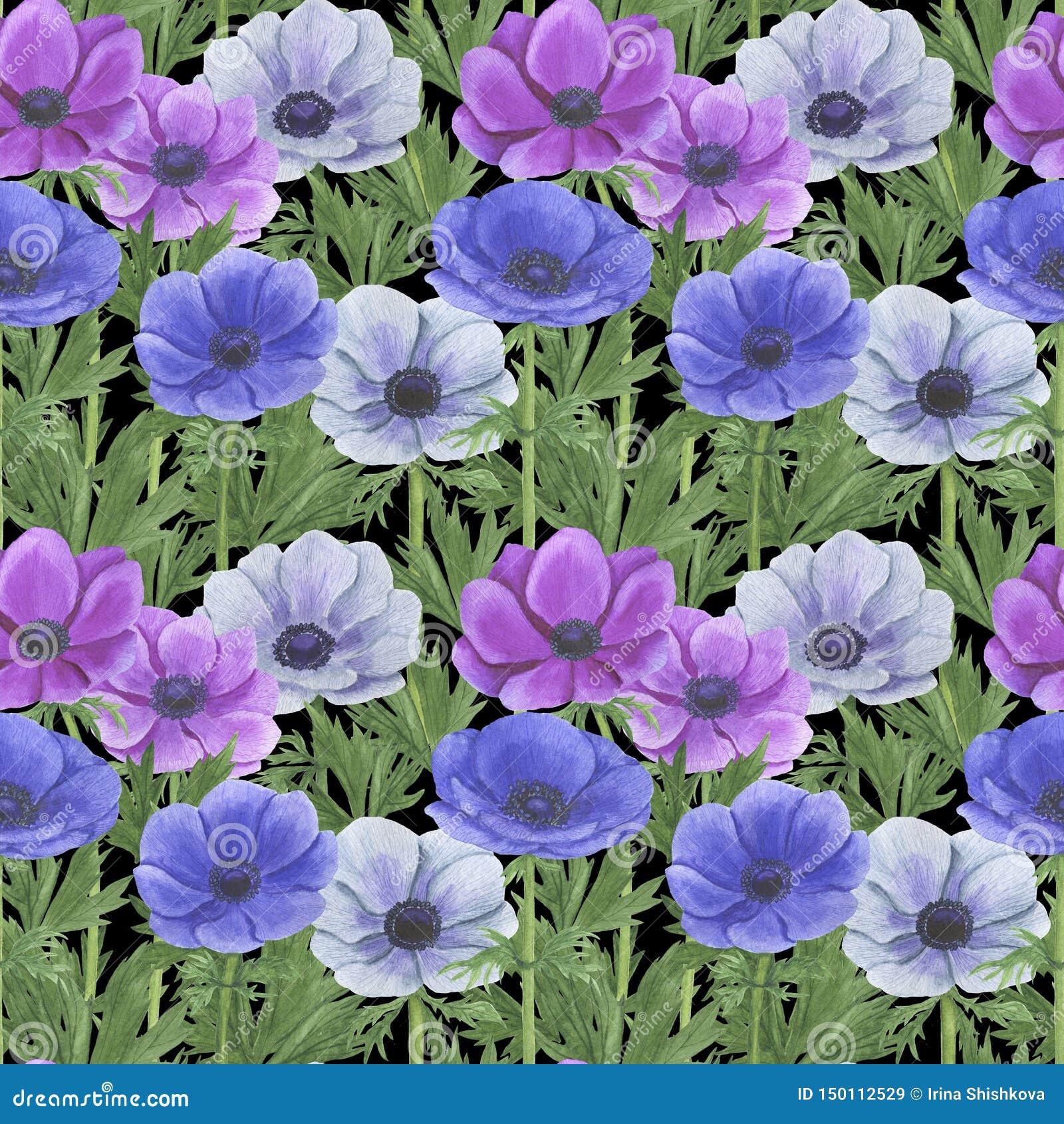 Het naadloze patroon met waterverf bloeit Anemone Illustration van van het bladtexturen van bladtwijgen Bloemen met de hand gemaa