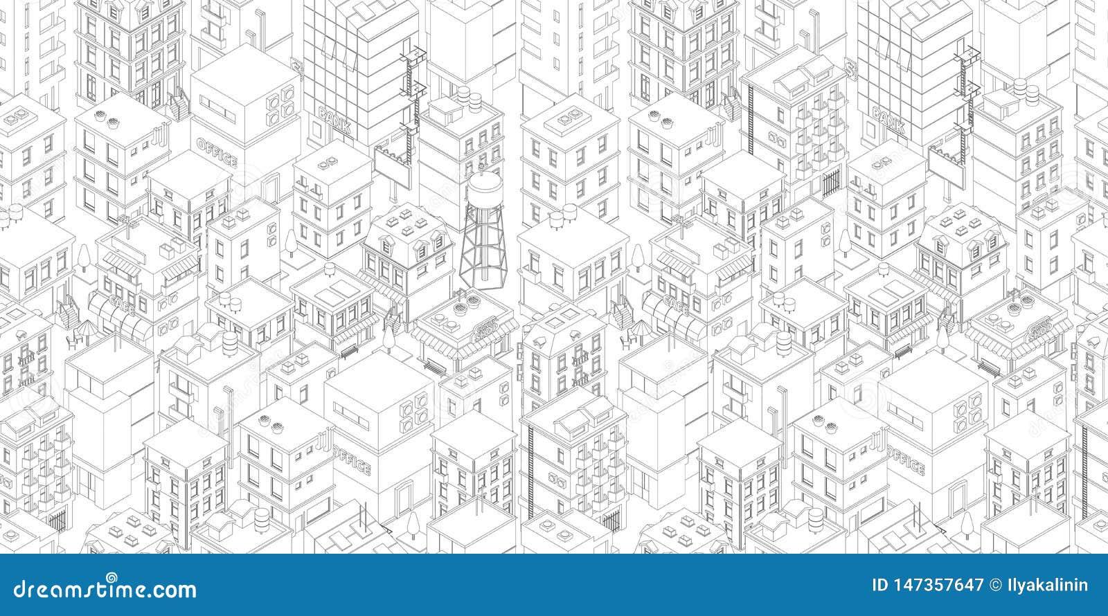 Het naadloze patroon van de gebouwenstad Isometrische hoogste mening Vector de straatoverzicht van de stadsstad De grijze rechtho