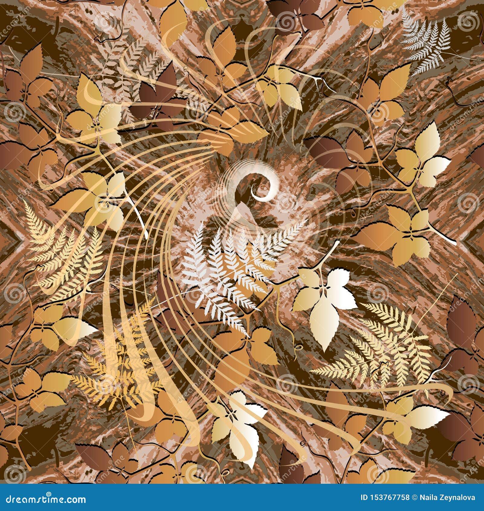 Het naadloze patroon van de herfst Vector sier bladachtergrond Bevlekt geometrisch herhaalt achtergrond Spiraalvormige lijnen, vo