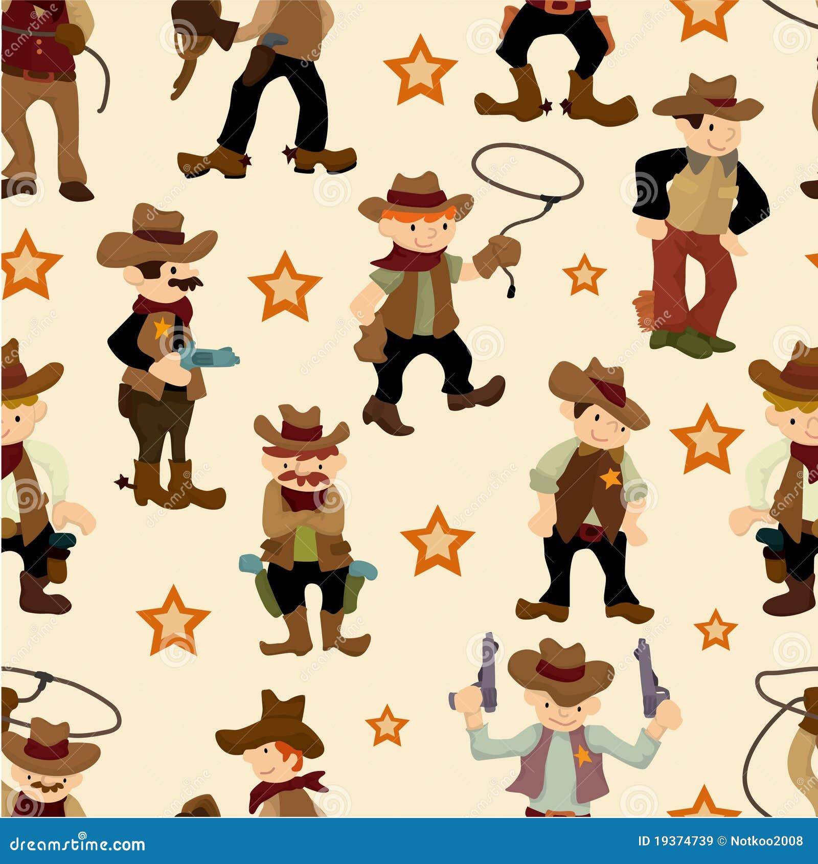 Het naadloze patroon van de het westencowboy