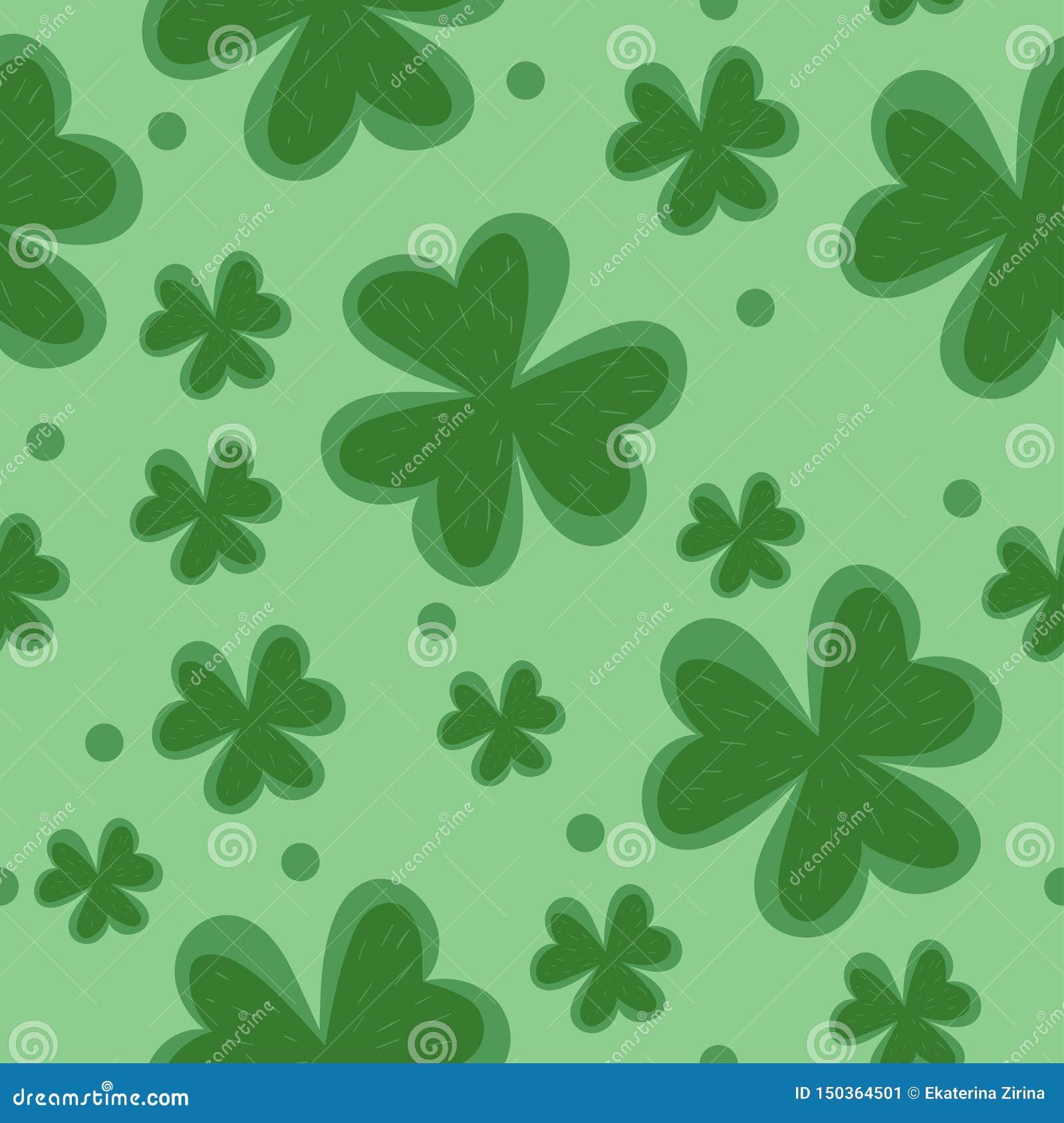 Het naadloze patroon van de klaver Installatie groen vectorpatroon