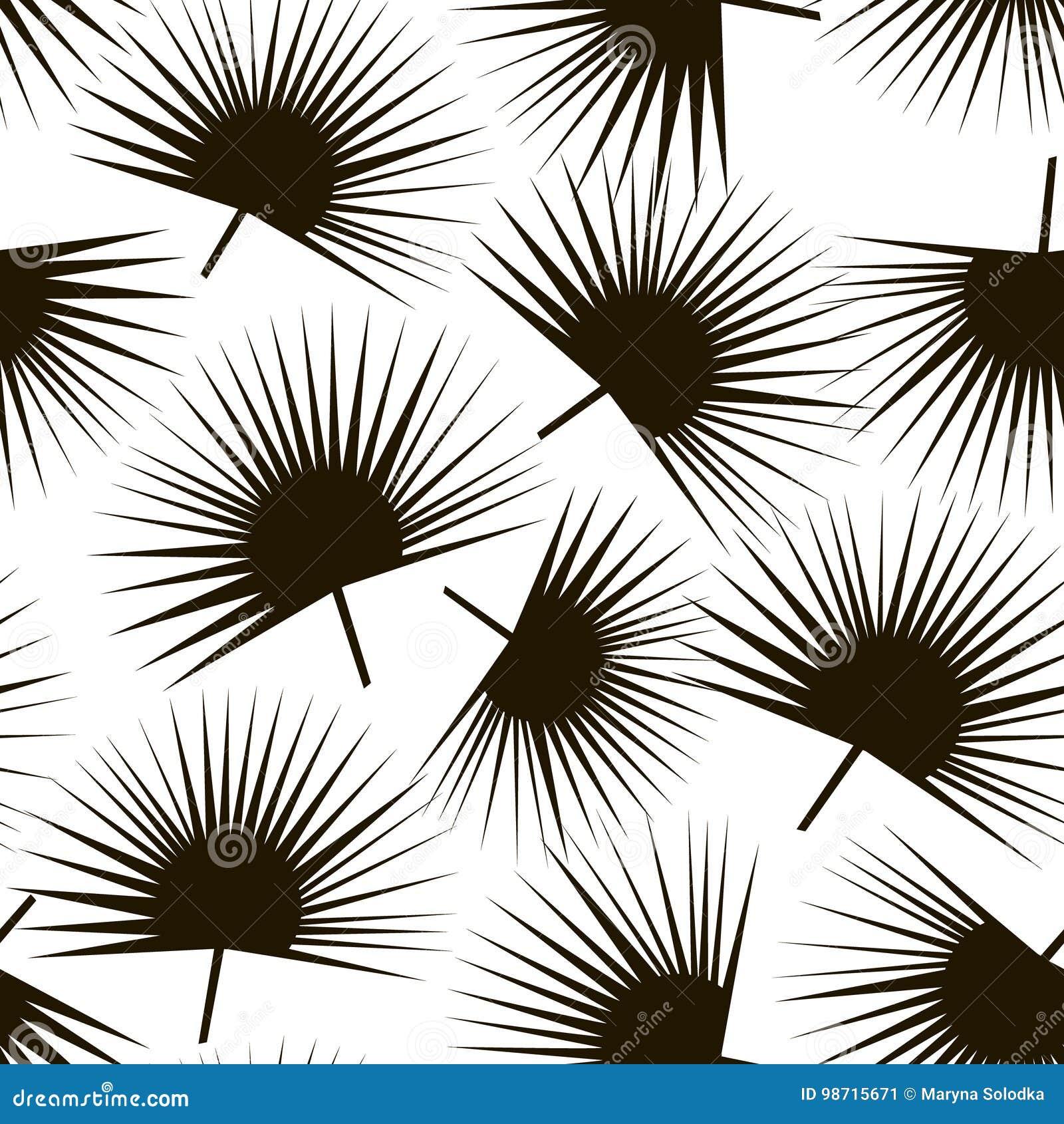 Het in naadloze patroon van de palmtak Zwarte palmbladachtergrond Groot voor stof, textiel Vectorillustratie