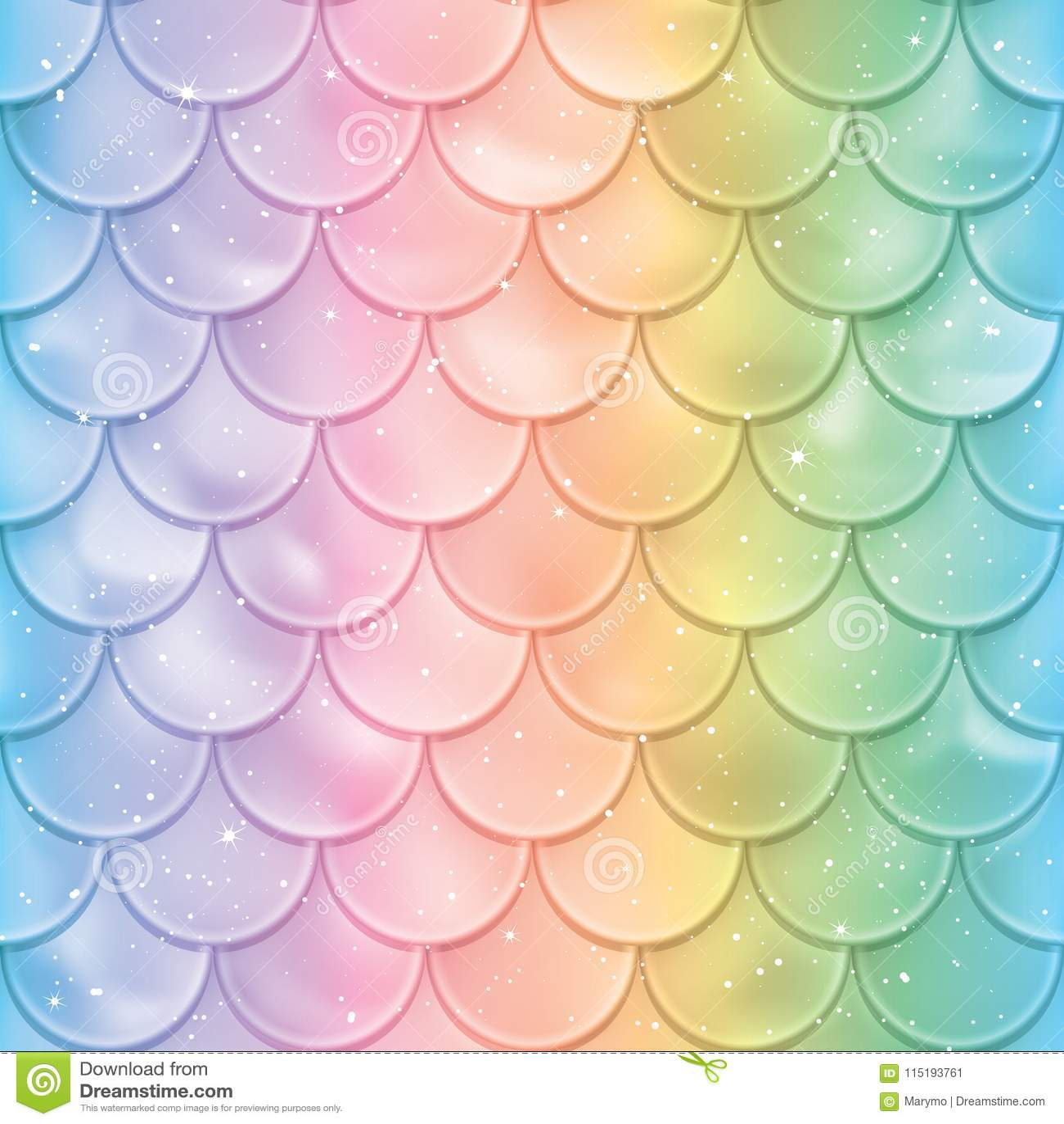 Het Naadloze Patroon van de Schalen van vissen De textuur van de meerminstaart in spectrumkleuren Vector illustratie