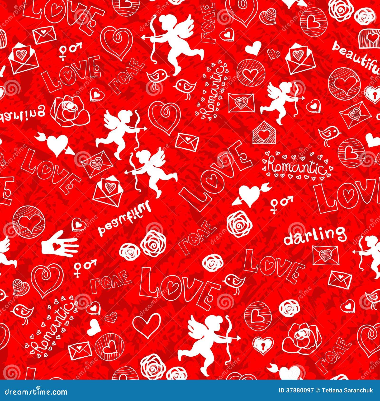 Het naadloze patroon van de valentijnskaartendag met Cupido