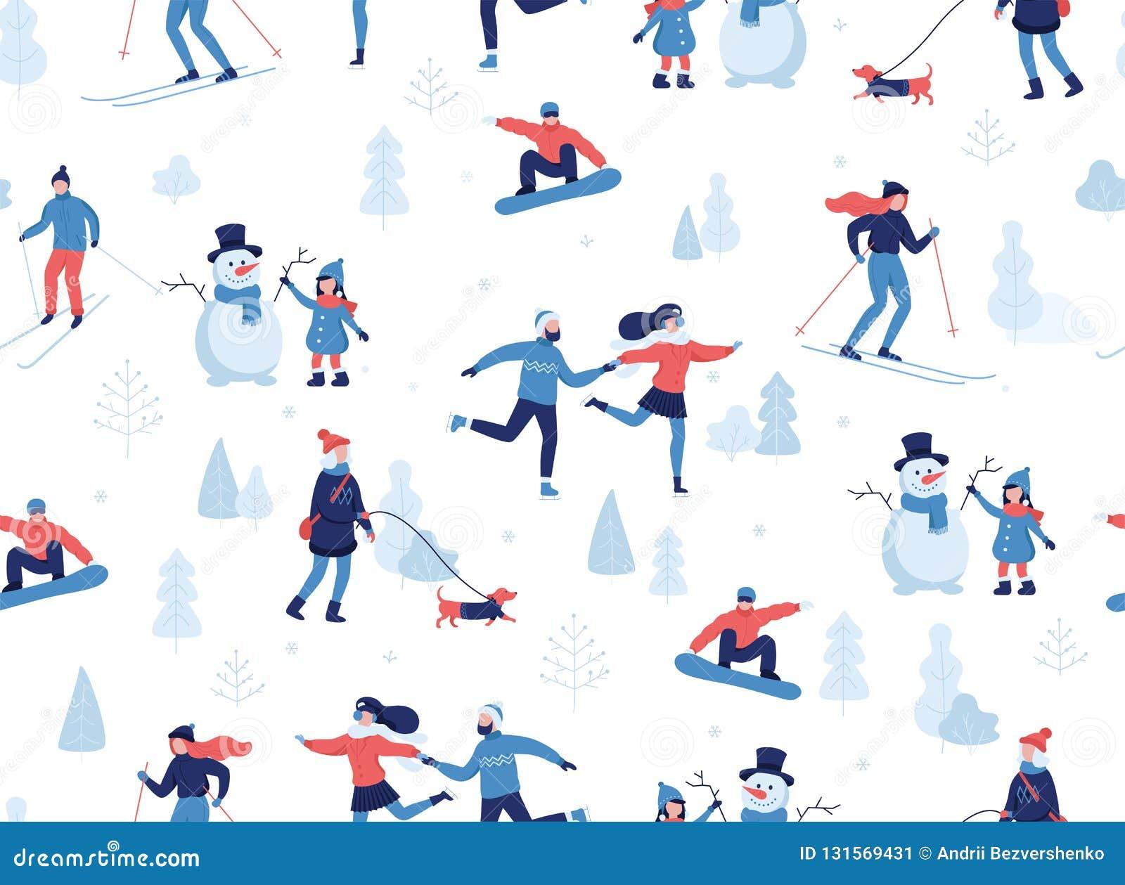Het naadloze patroon van de winter Mensen die de winteractiviteiten in park hebben, het ski?en die, het schaatsen, het snowboardi
