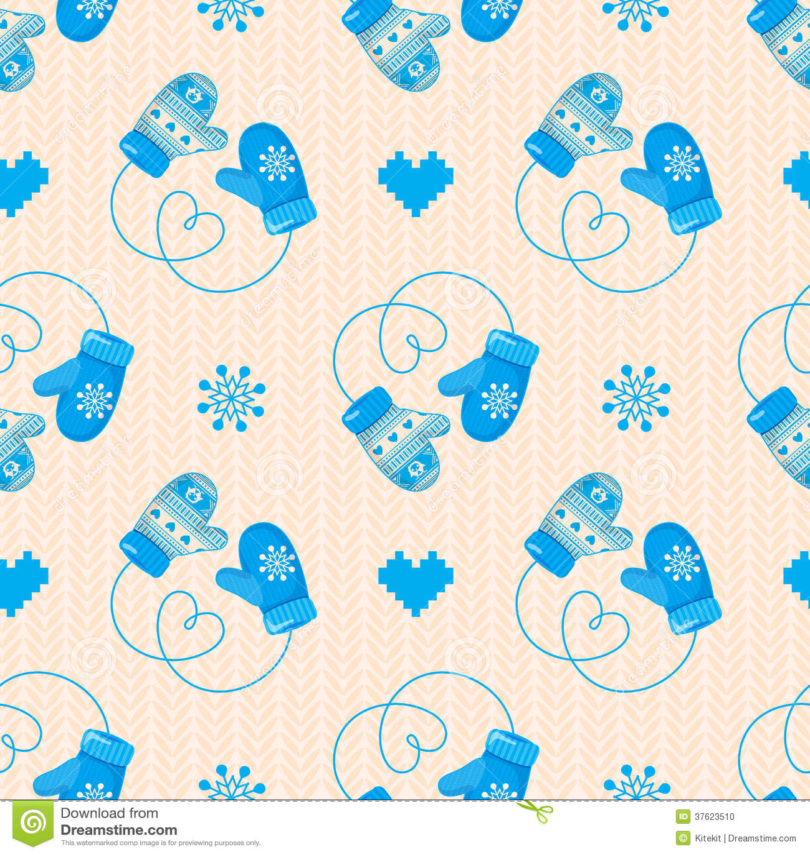 Het naadloze patroon van de wintervuisthandschoenen blauwe versie mag voor w worden gebruikt - Behang patroon voor de slaapkamer ...