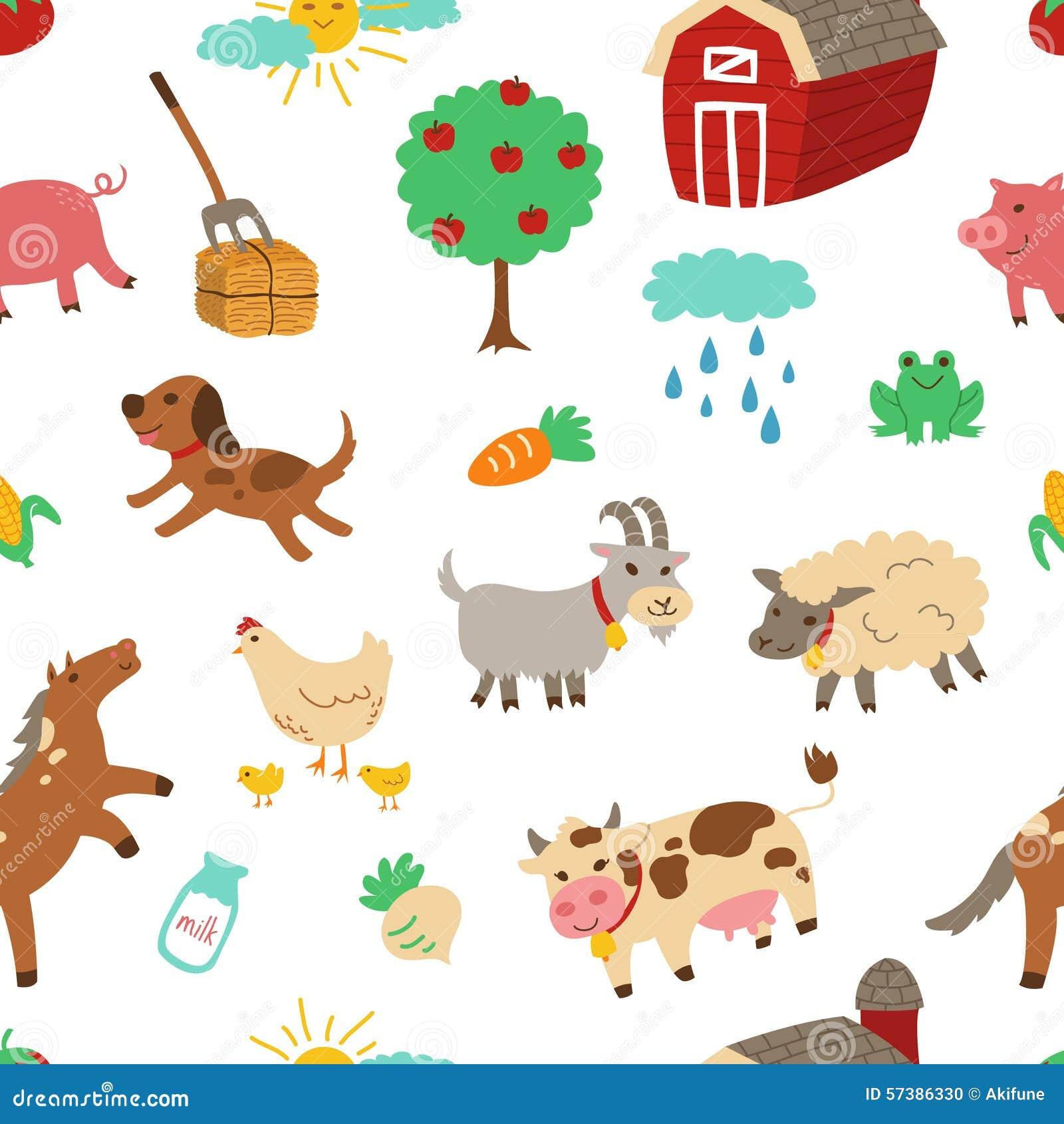 Het naadloze patroon van het landbouwbedrijfdier met witte achtergrond