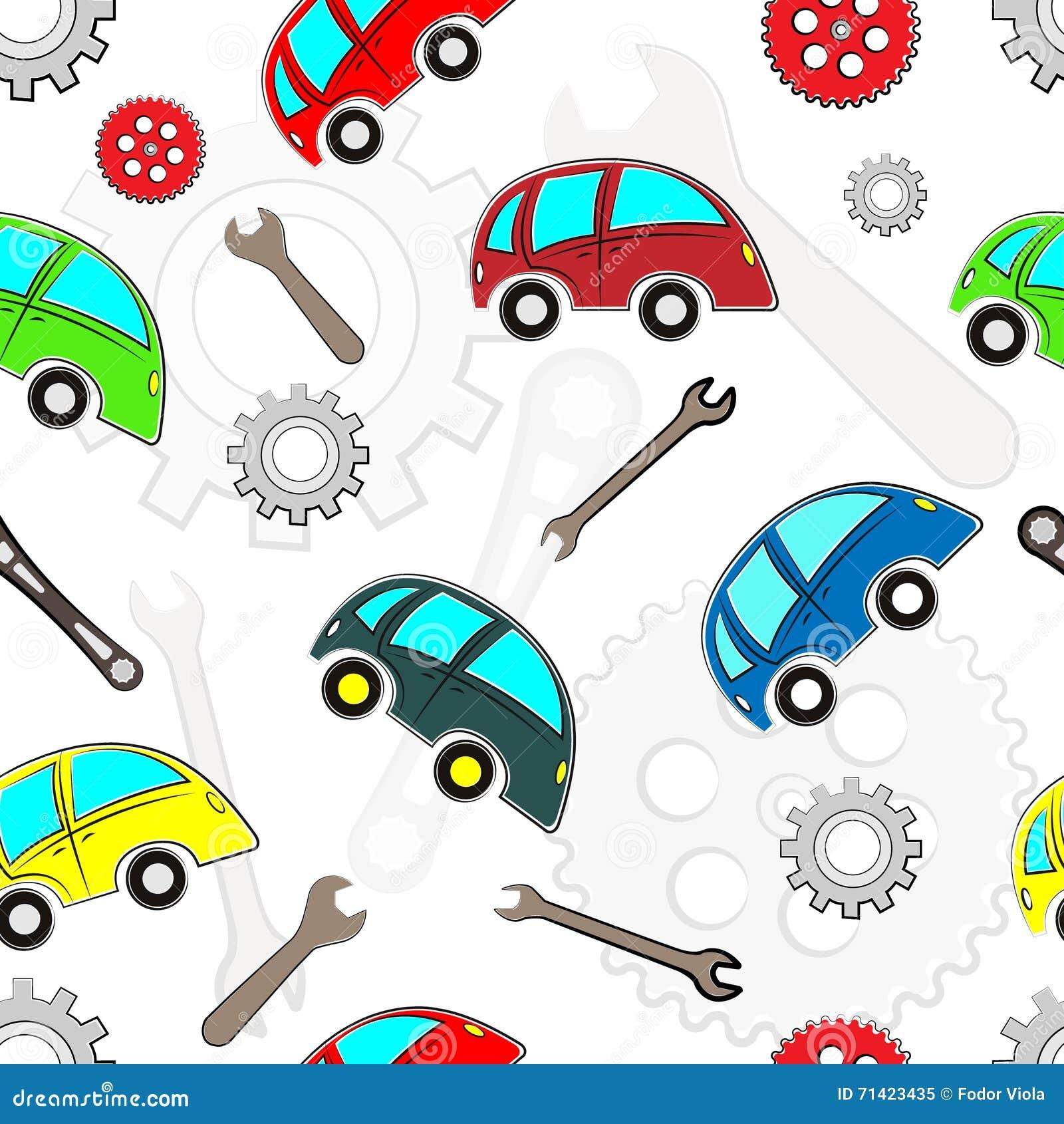 Het naadloze patroon van jonge geitjesauto s met hulpmiddelen