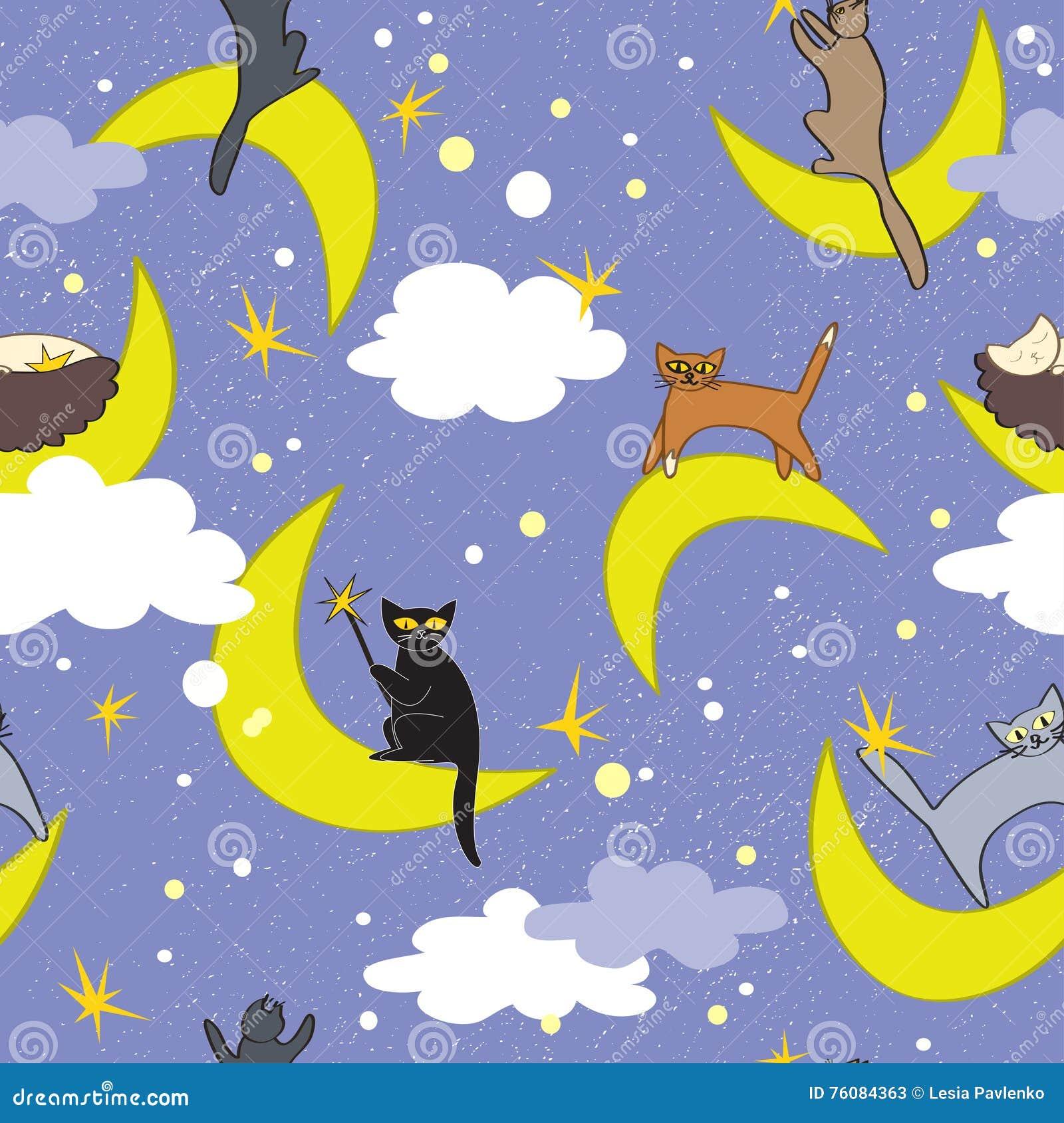 Het naadloze patroon van katten De katten die op manen in verschillend zitten stelt Feeachtergrond