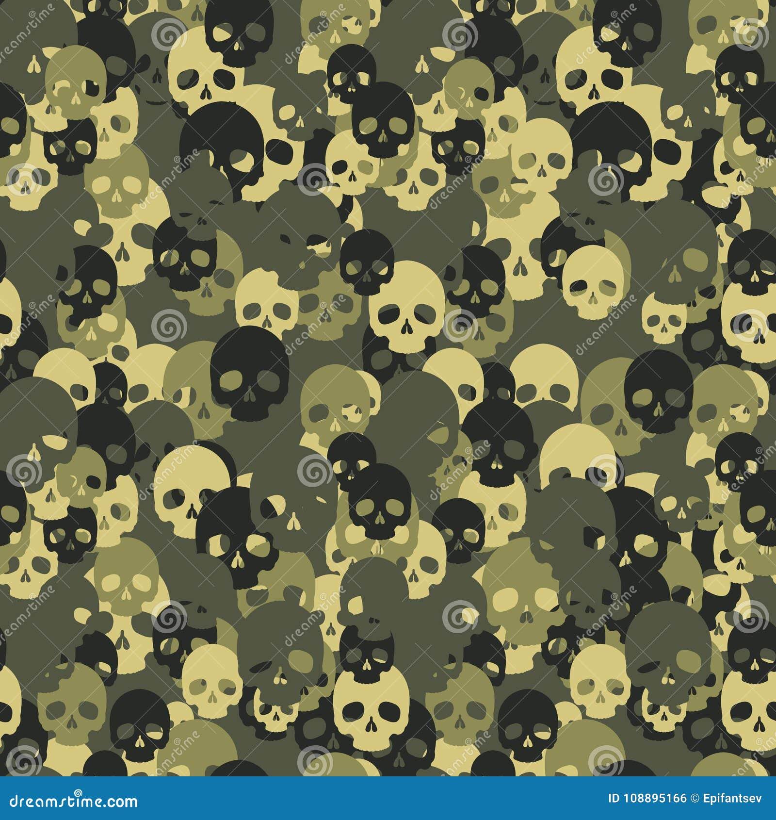 Het naadloze patroon van schedelcamo Groene Camouflage