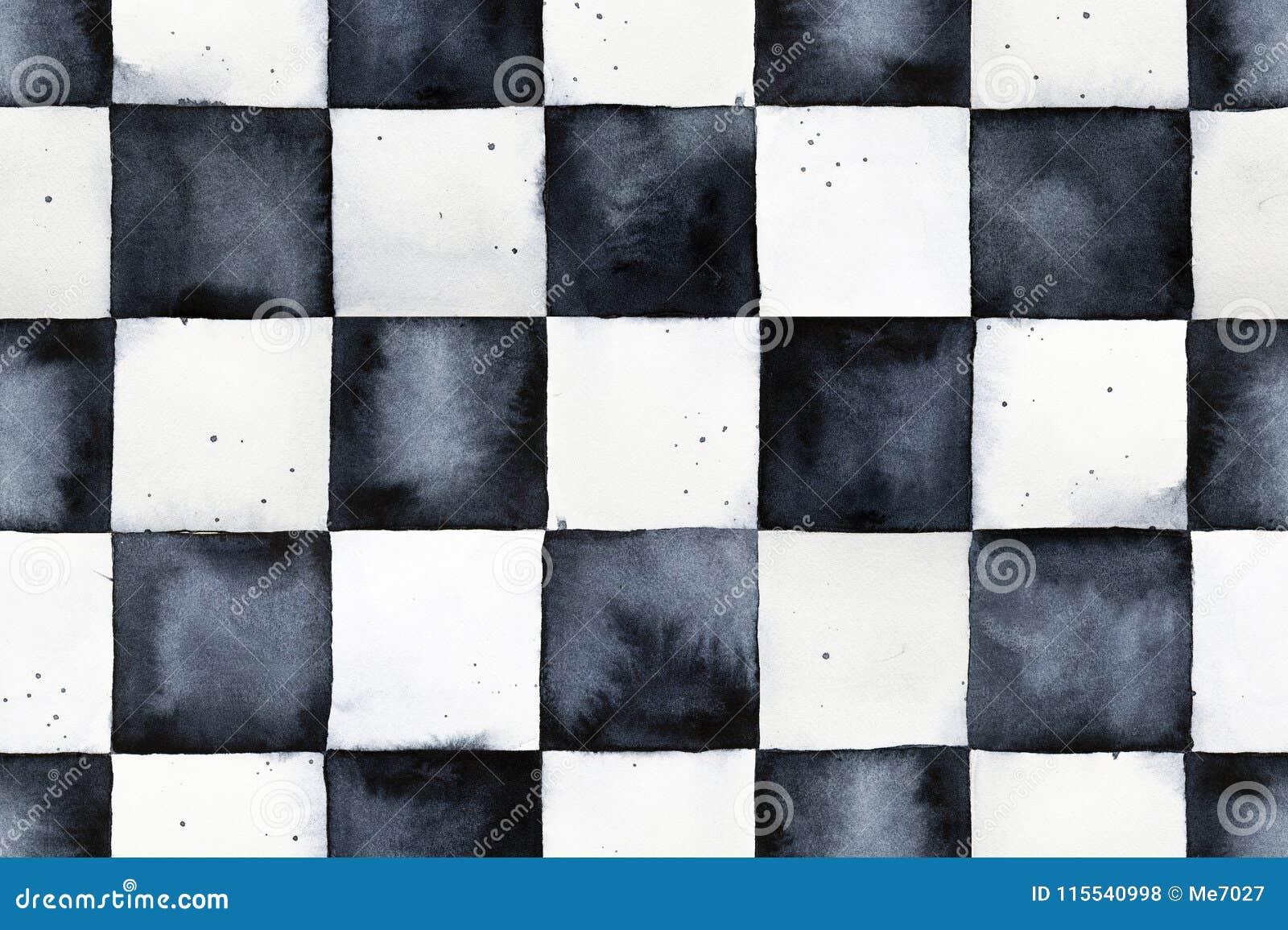 Het naadloze patroon van het waterverfschaakbord