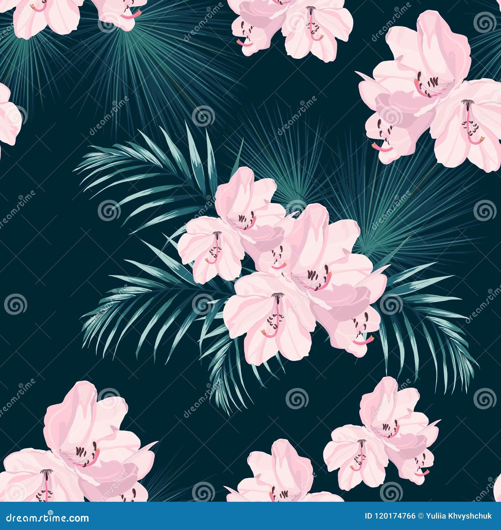 Het naadloze tropische vectorpatroon met paradijs roze rododendron bloeit en exotische palmbladen op donkerblauwe achtergrond