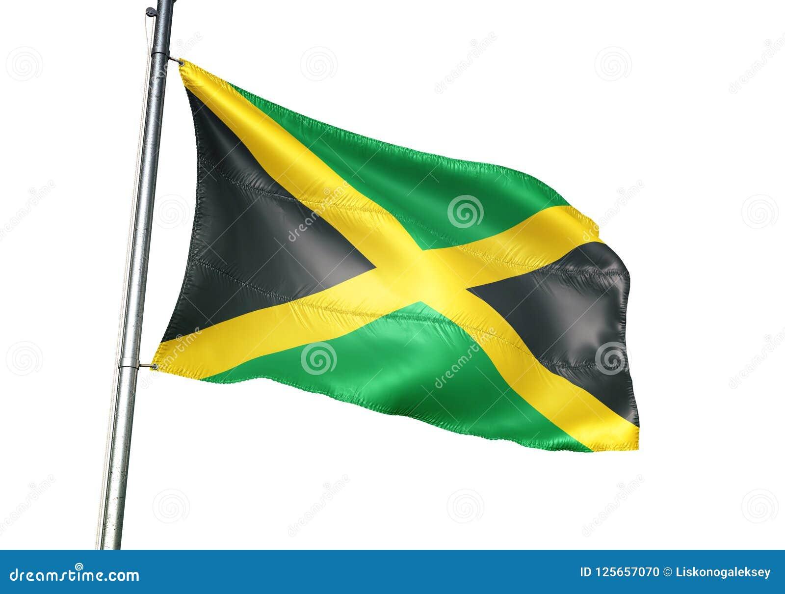 Het nationale de vlag van Jamaïca golven geïsoleerd op witte realistische 3d illustratie als achtergrond