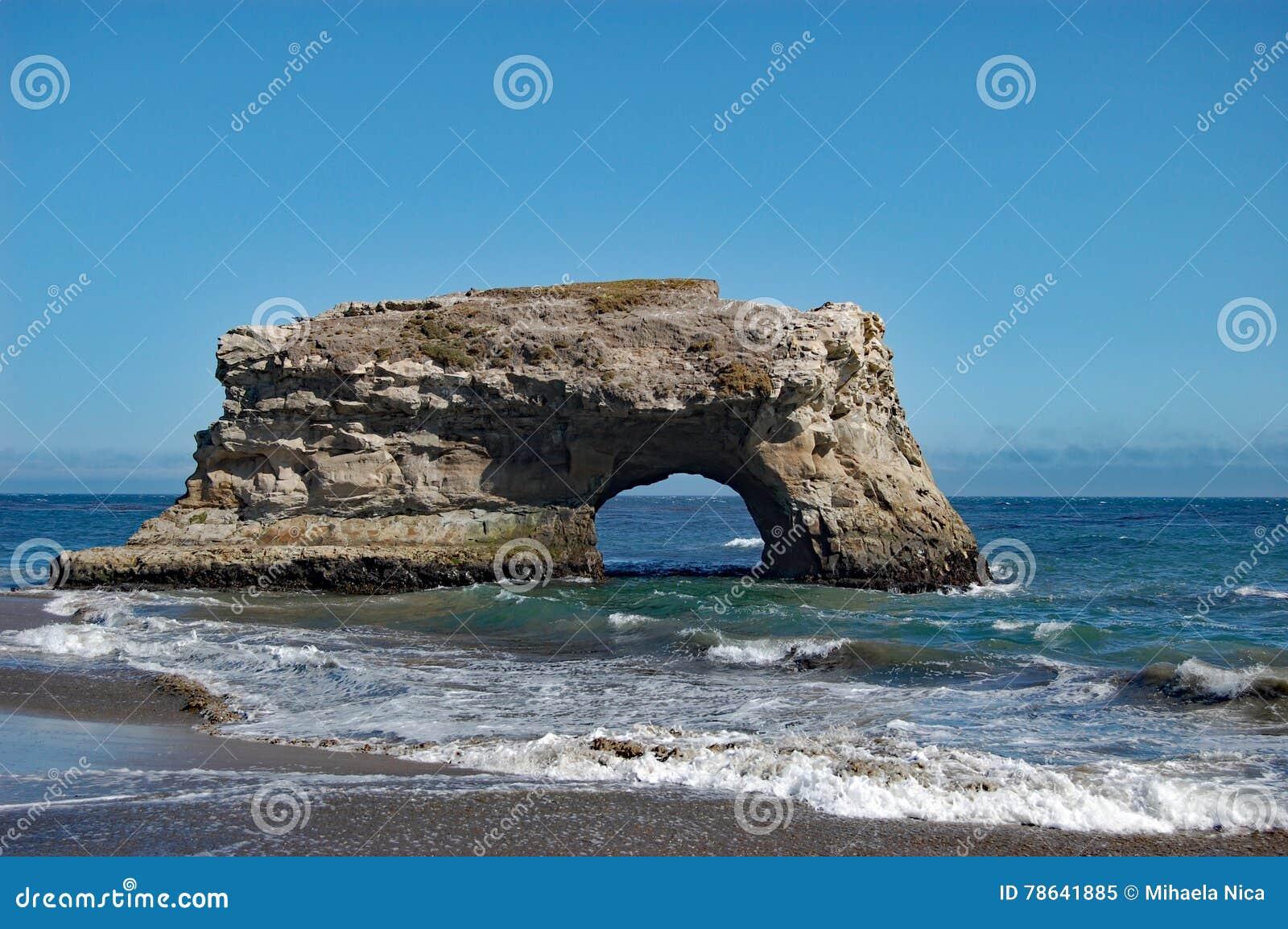 Het natuurlijke Strand van de Bruggenstaat, Santa Cruz, Californië