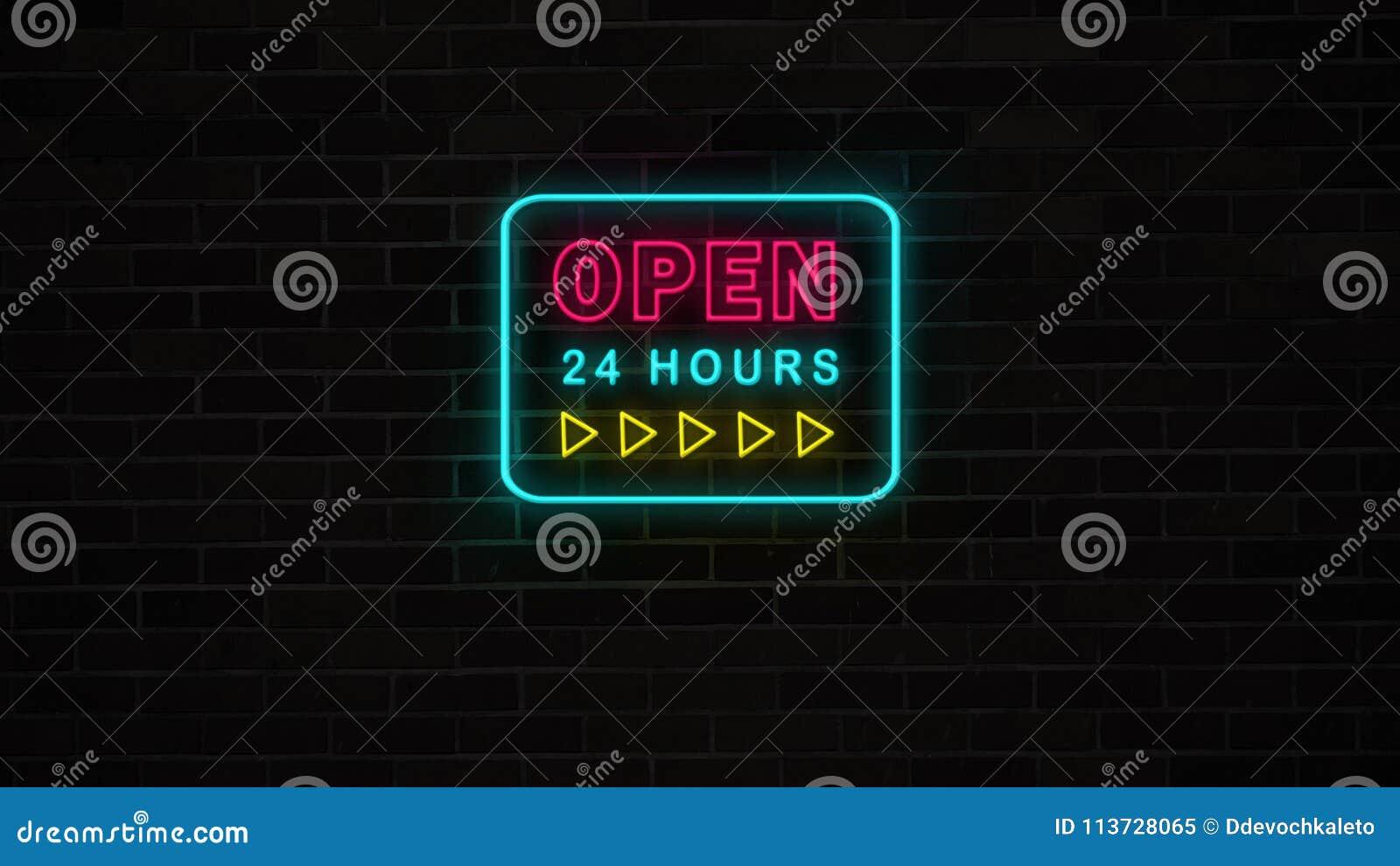 Het neon opent 24 urenteken met gele pijlen op grungebakstenen muur