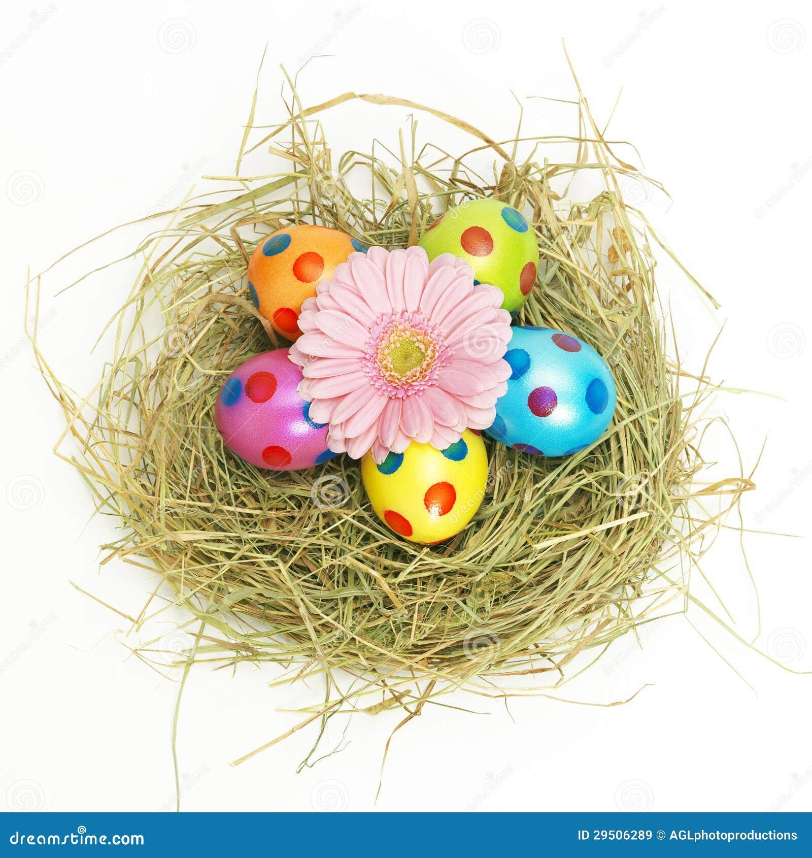 Het nest van Pasen met een roze bloem