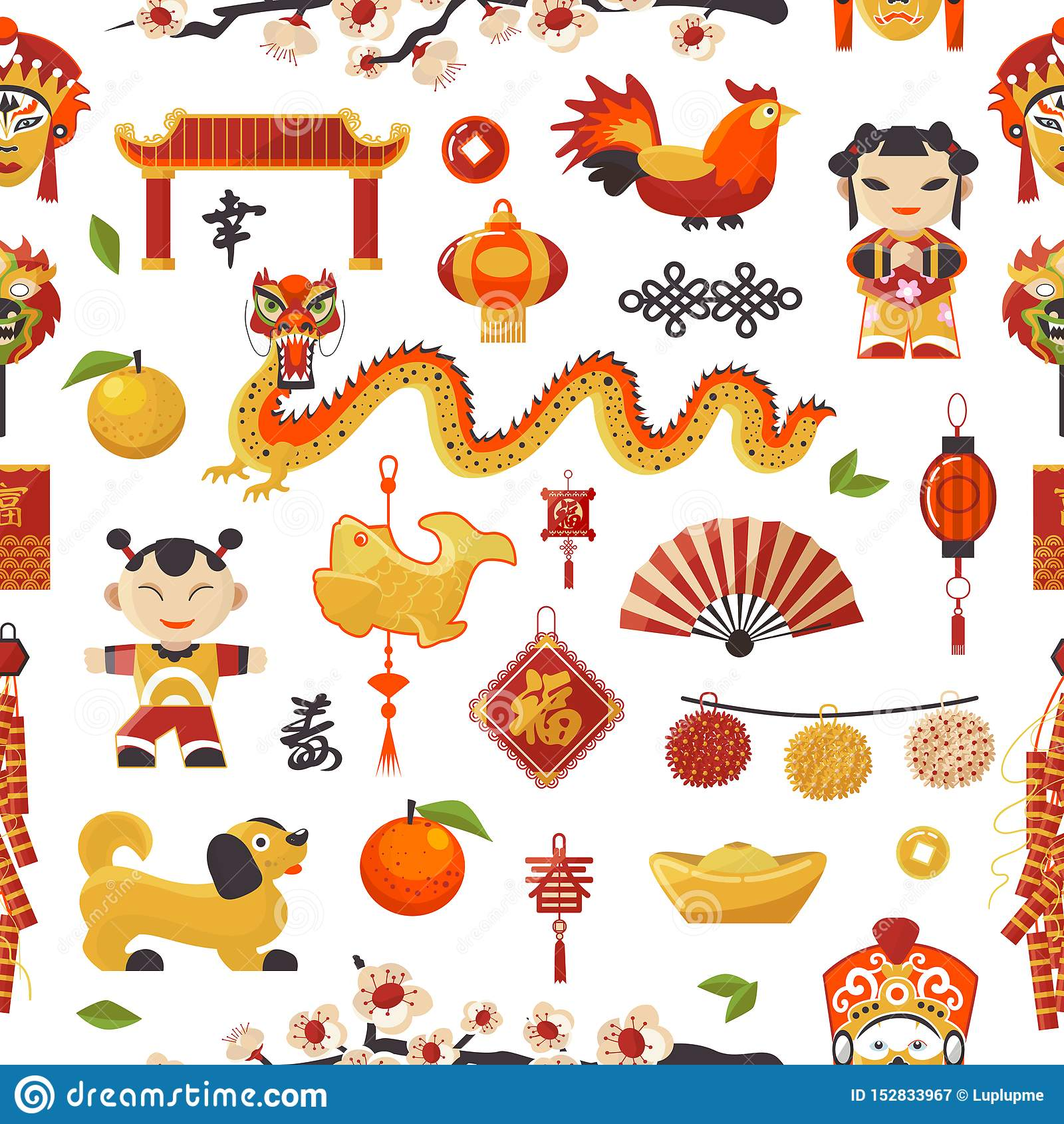 Het Nieuwjaarpictogrammen van China geplaatst decoratieve vakantie Chinese traditionele symbolen en objecten draak, hond, lichter