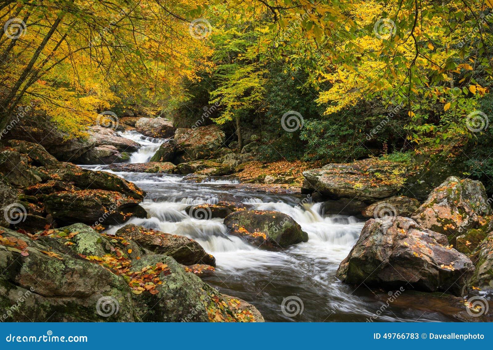 Het noorden Carolina Autumn Cullasaja River Scenic Landscape
