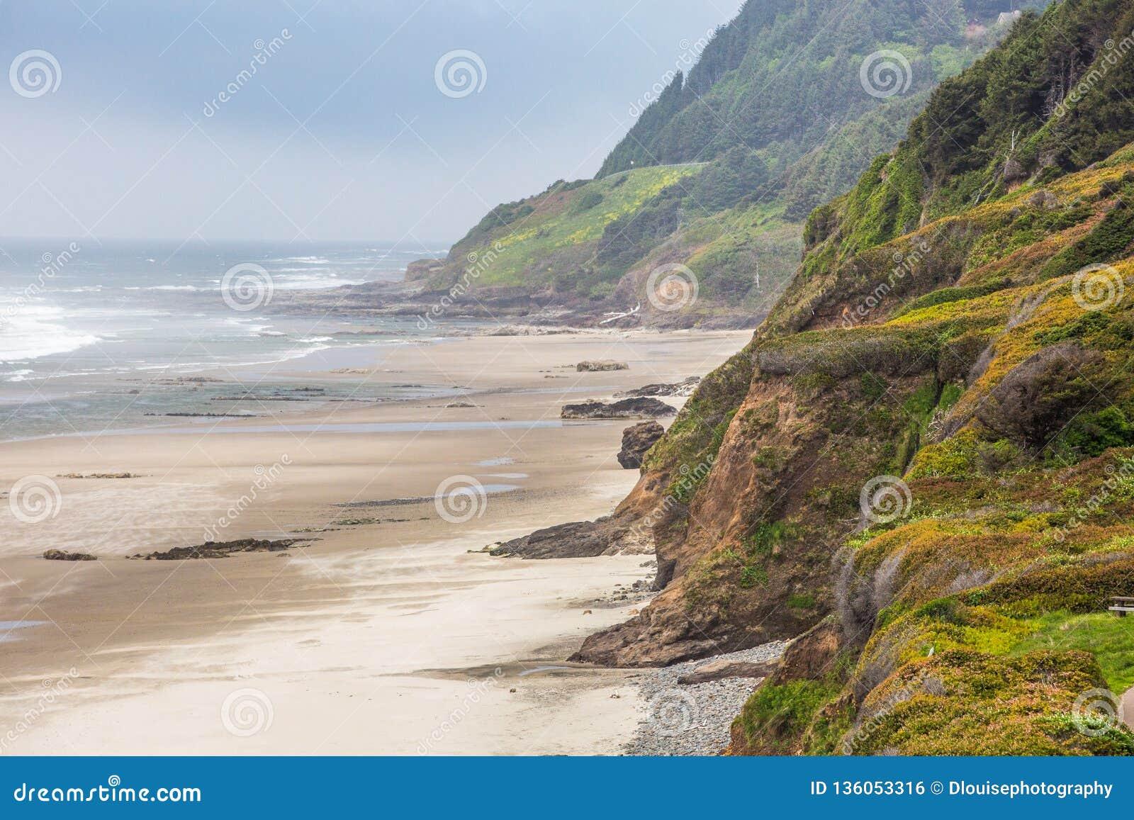 Het Noordwestenklippen van Oregon het Vreedzame overzien dreal lange strandgolven