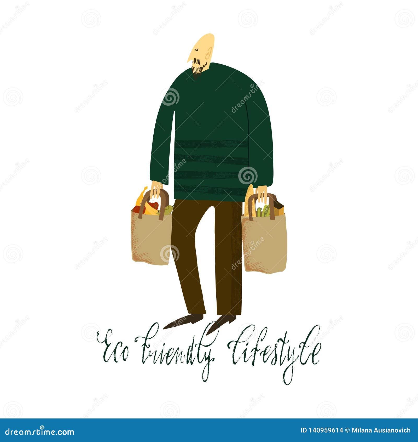 Het nul afvalleven De Stijl van Eco geen plastiek eco het winkelen Mens met ecozakken Hand getrokken vectorillustratie