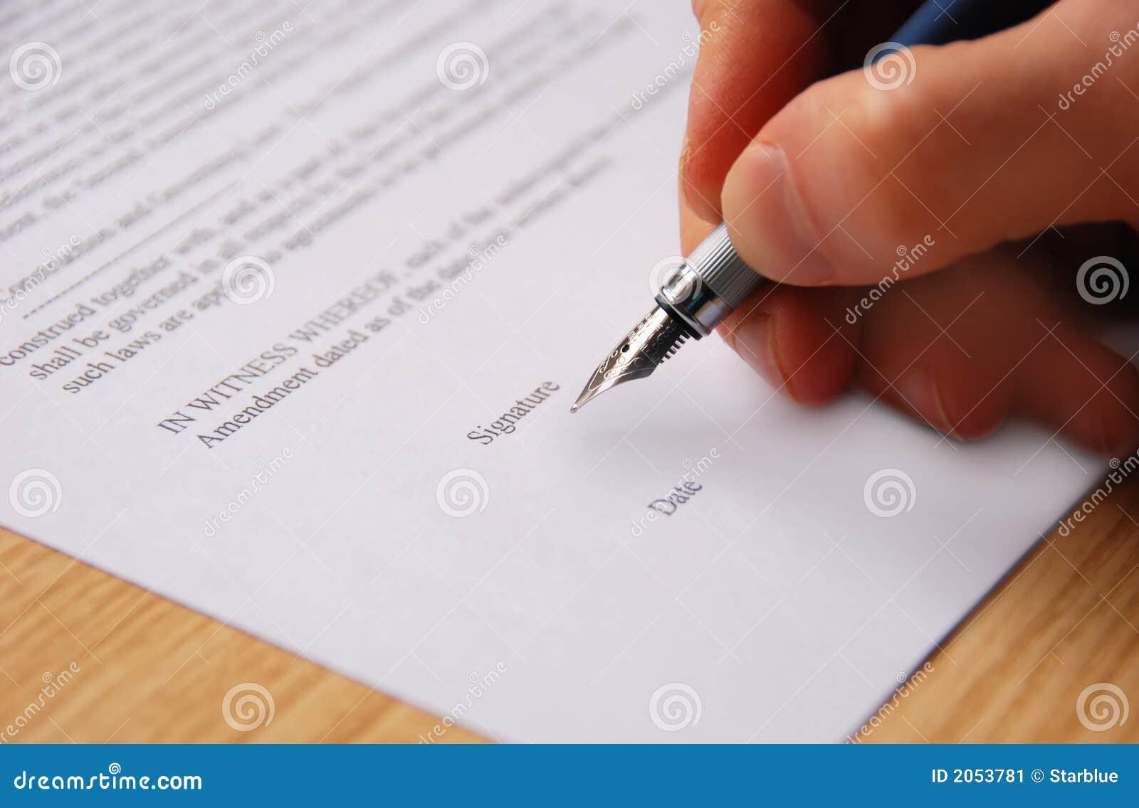 Het ondertekenen van contract