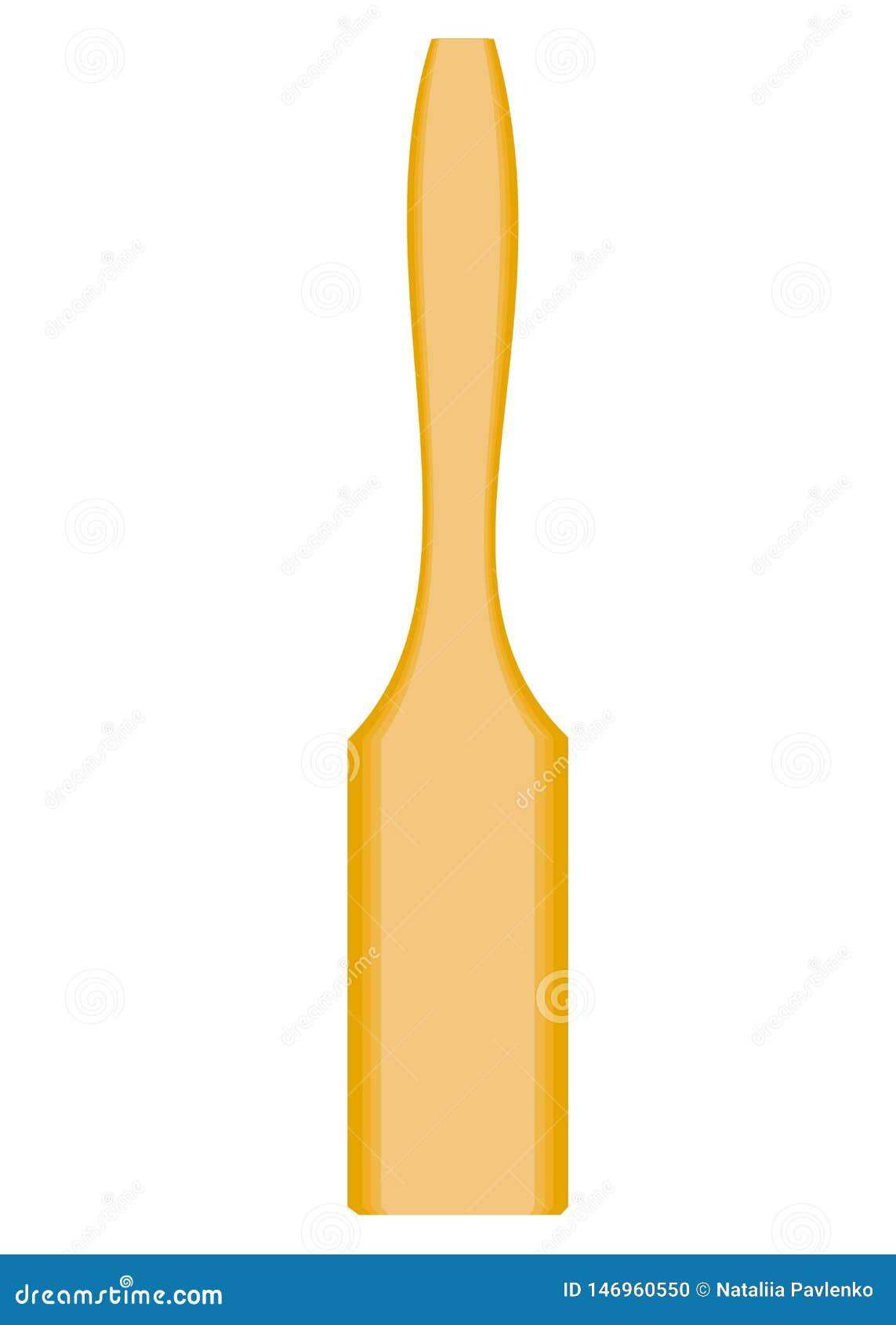 Het onderwerp van keukengerei Een houten spatel is nodig in de keuken in de keuken om voedsel te draaien Vector illustratie