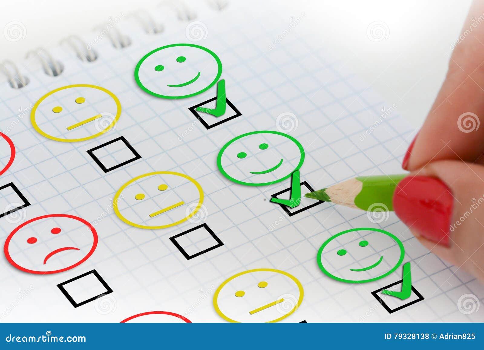 Het onderzoek of de vragenlijst van de klantentevredenheid