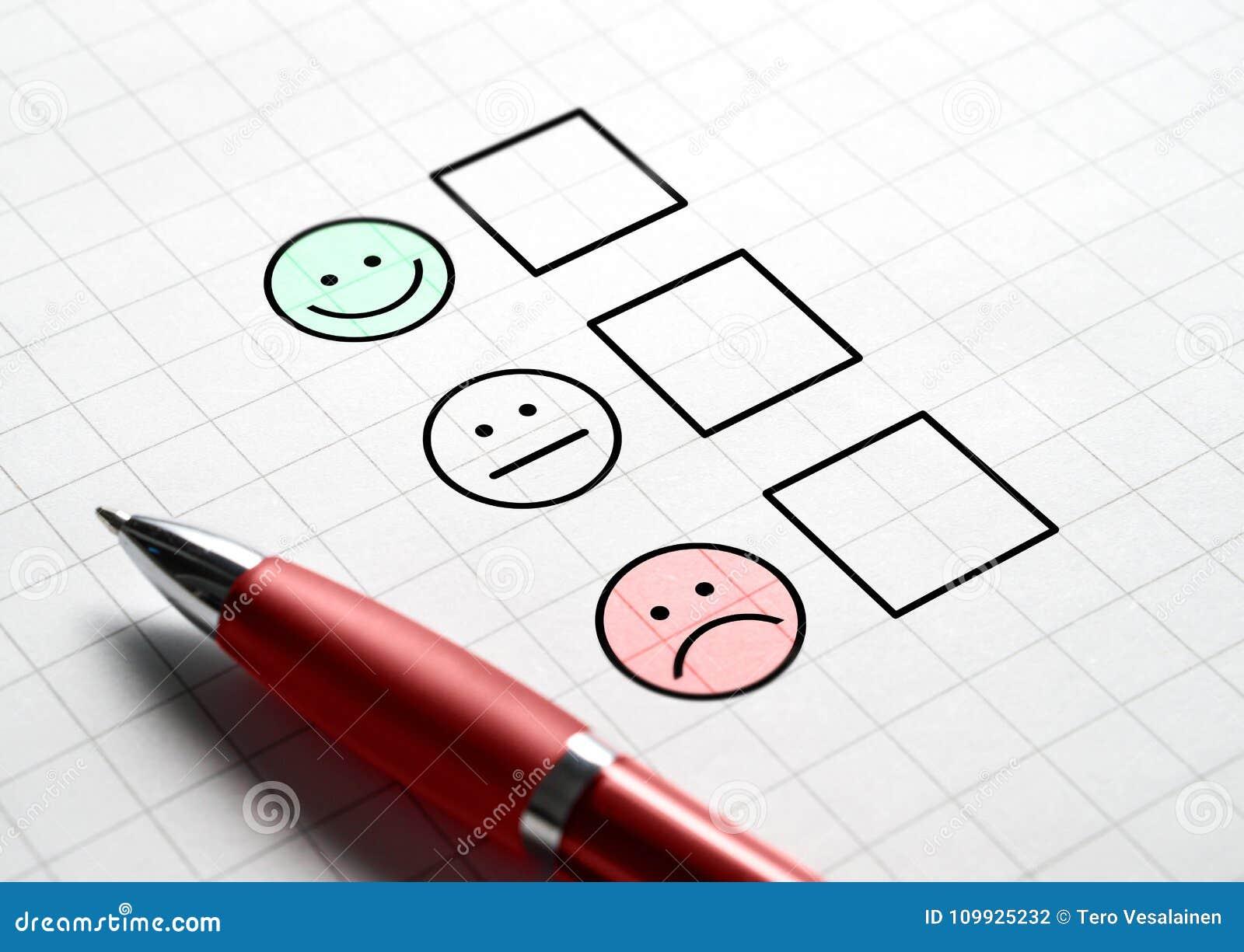 Het onderzoek van de klantentevredenheid en vragenlijstconcept