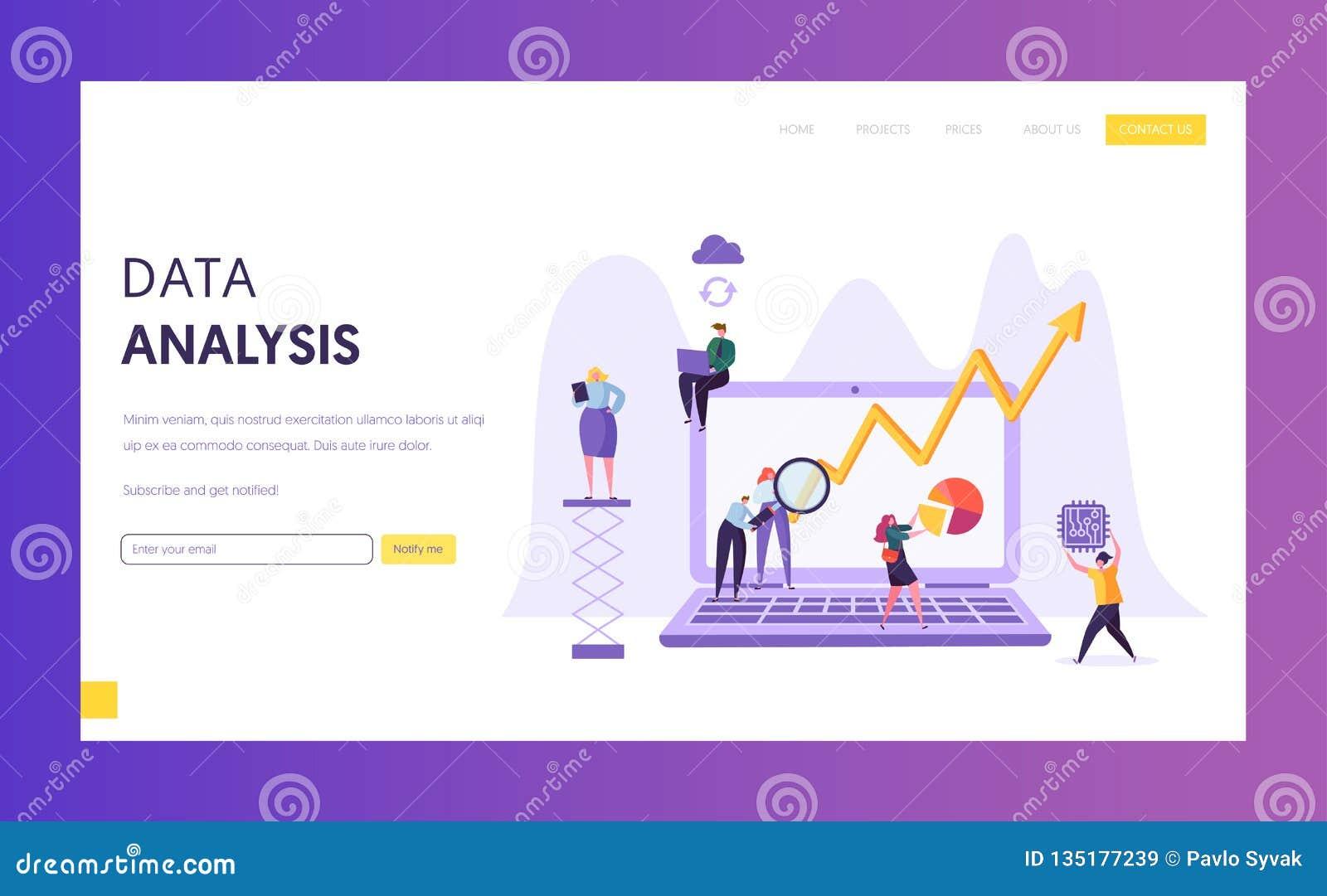 Het Onderzoeklandingspagina van de bedrijfsgegevensanalyse Marketing Strategieontwikkeling met Mensenkarakter die Plangrafiek ana