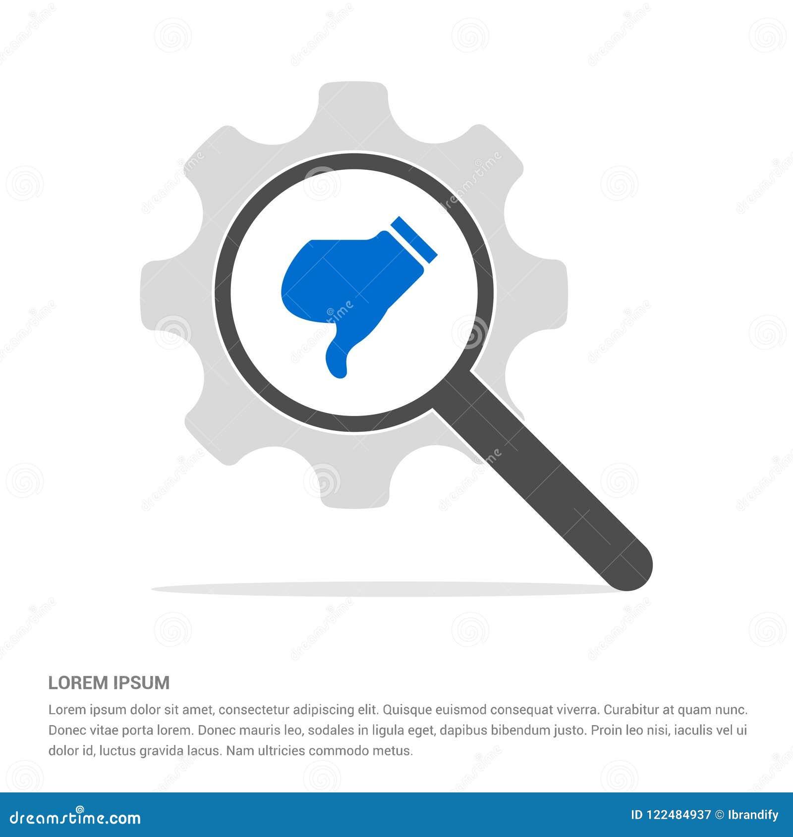 Het Onderzoeksglas van het afkeerpictogram met het Pictogrammalplaatje van het Toestelsymbool