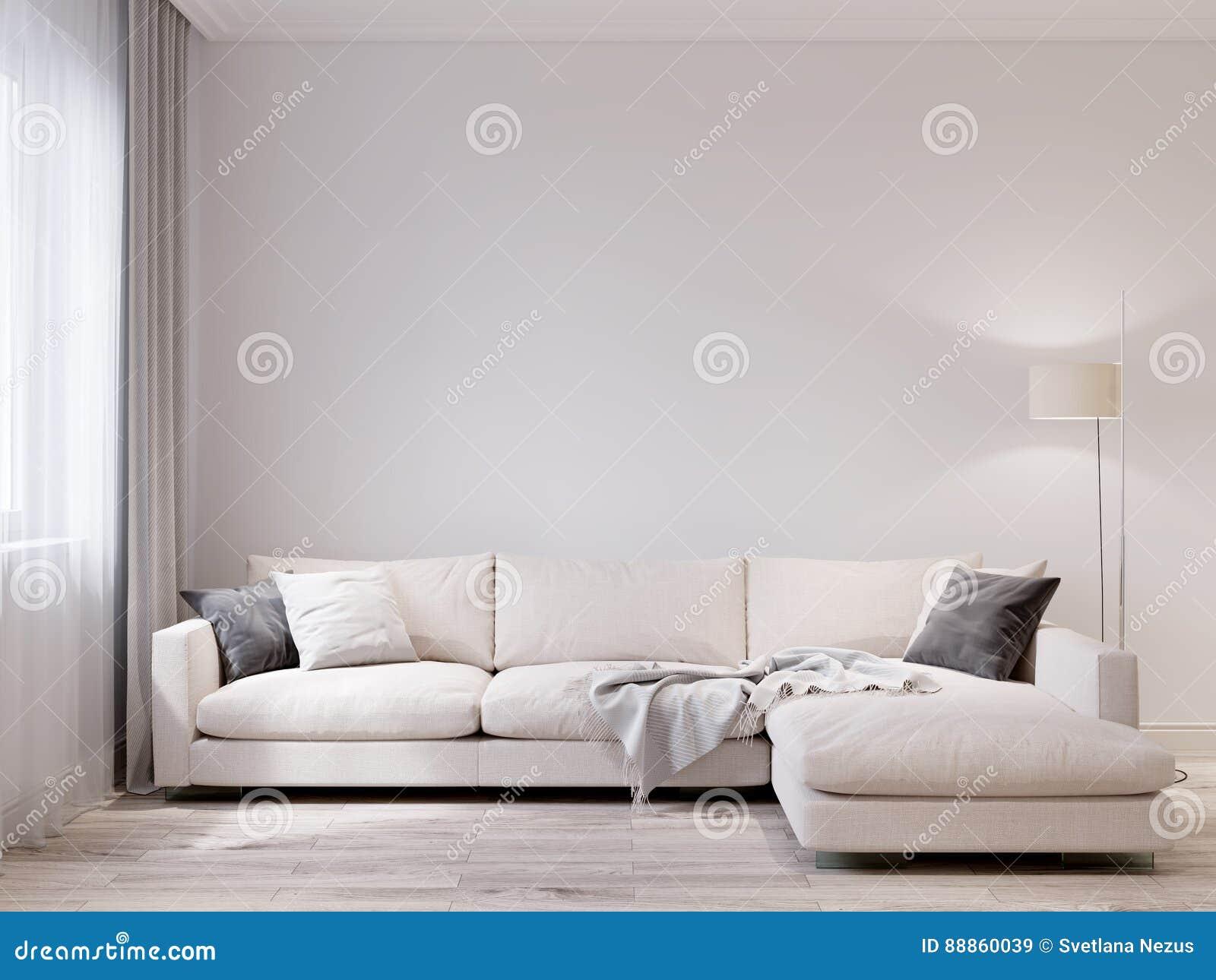 Het onechte omhoog witte binnenland van de muur moderne woonkamer