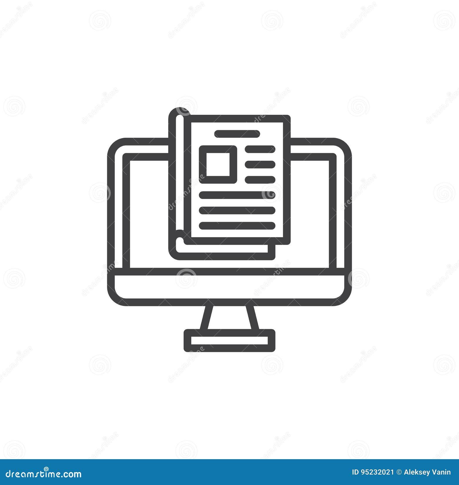 Het online pictogram van de tijdschriftlijn, overzichts vectorteken, lineair die stijlpictogram op wit wordt geïsoleerd