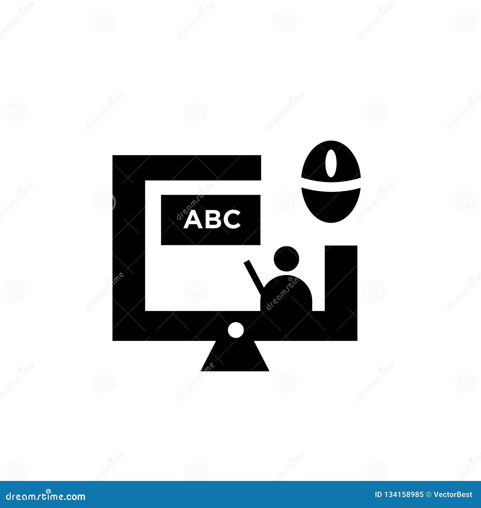 Het online teken en het symbool van het klassenpictogram vectordie op witte achtergrond, het Online concept van het klassenemblee
