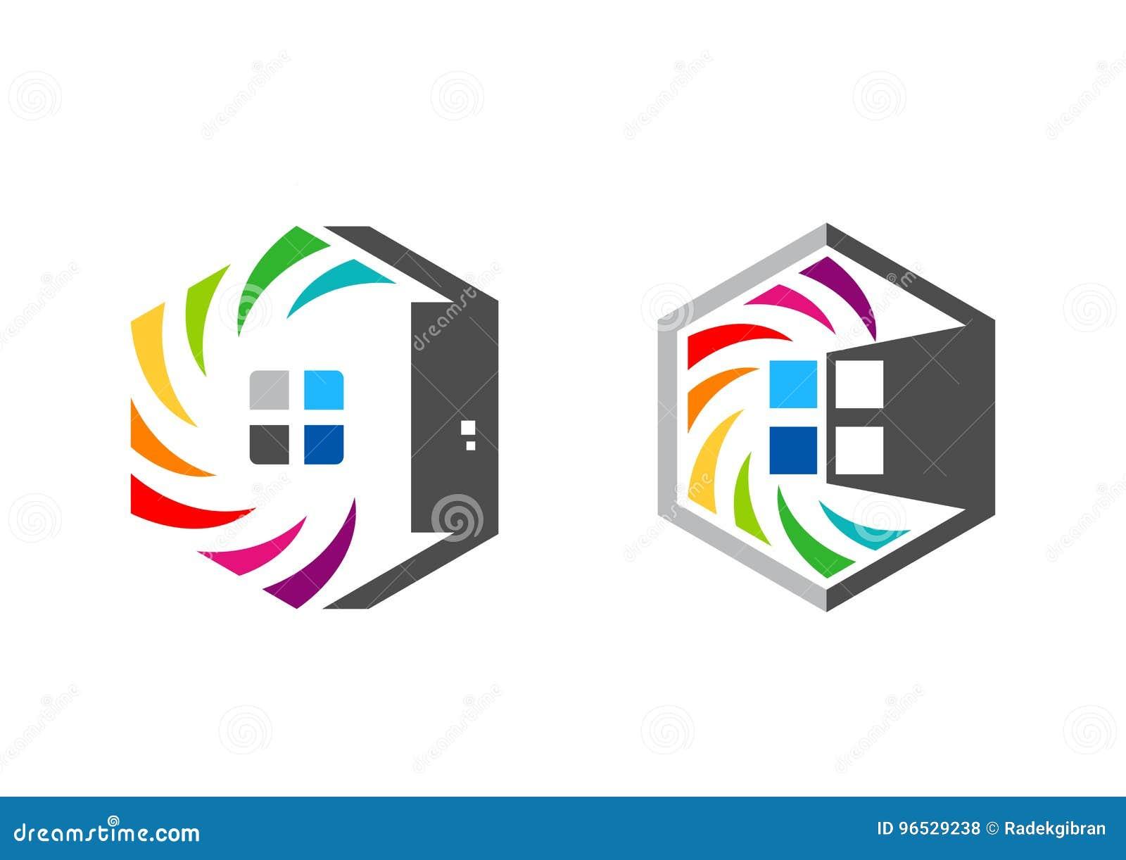 Het onroerende goederen huis, zeshoek, huis, embleem, reeks van regenboog colorize het pictogram vectorontwerp van het de bouwsym