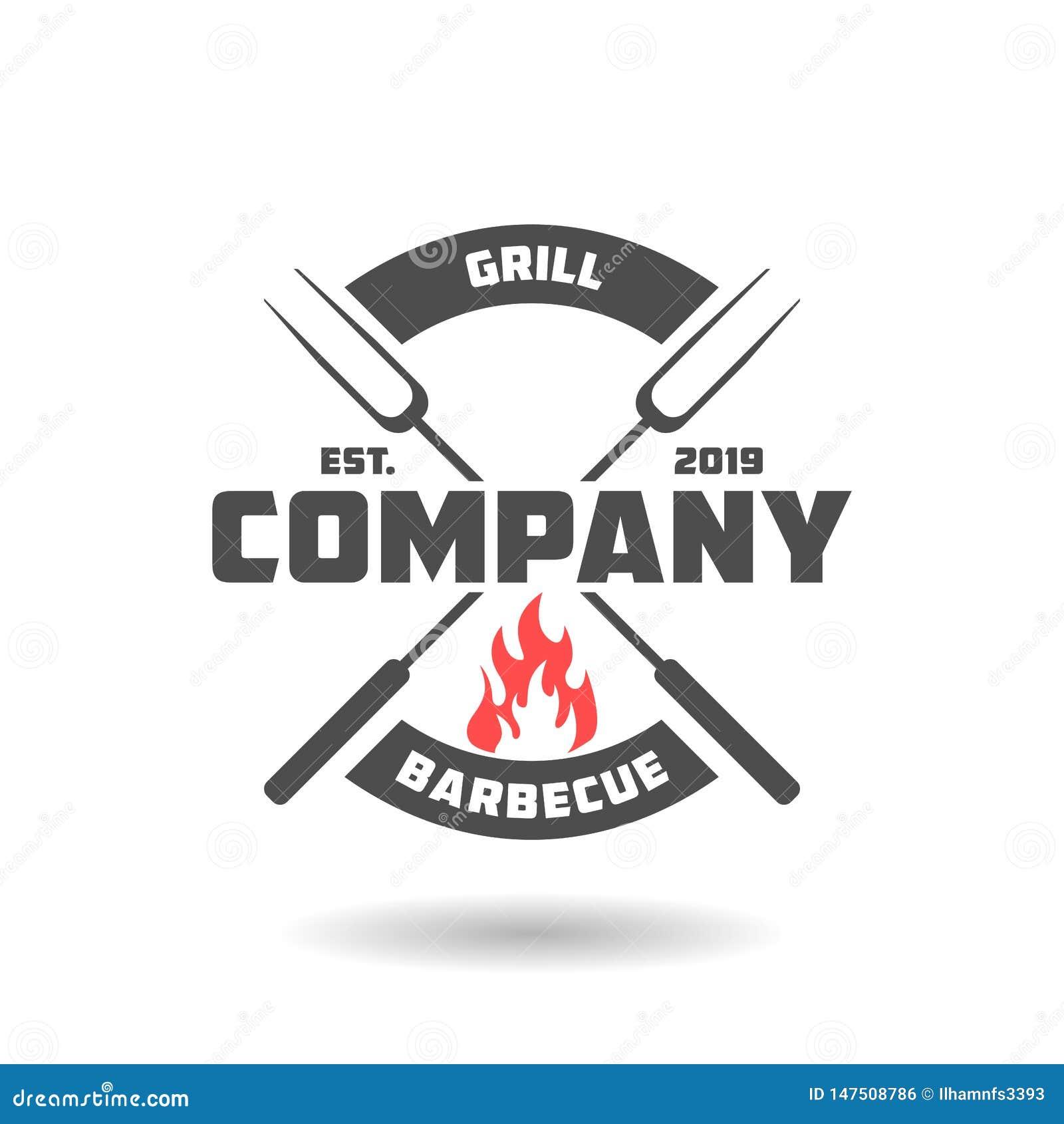 Het ontwerp van het barbecueembleem