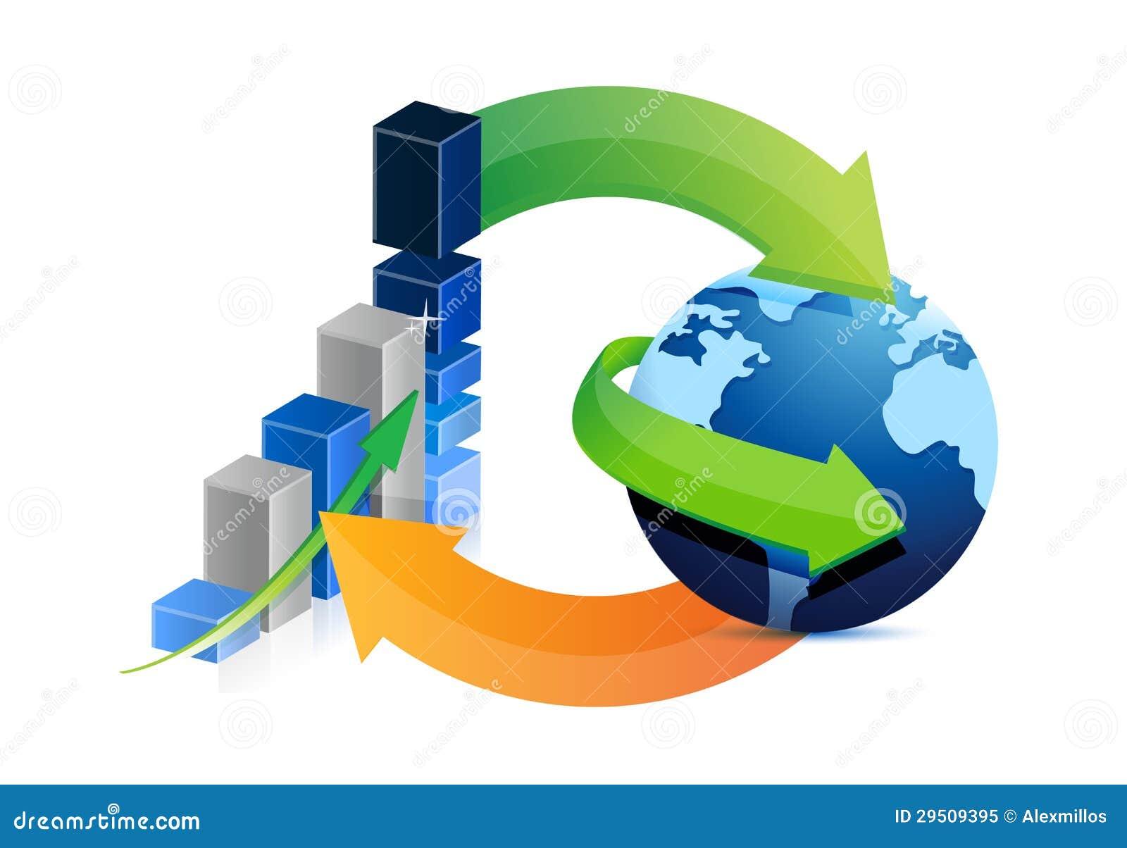 Het ontwerp van de bedrijfsgrafiek en bolcyclusillustratie