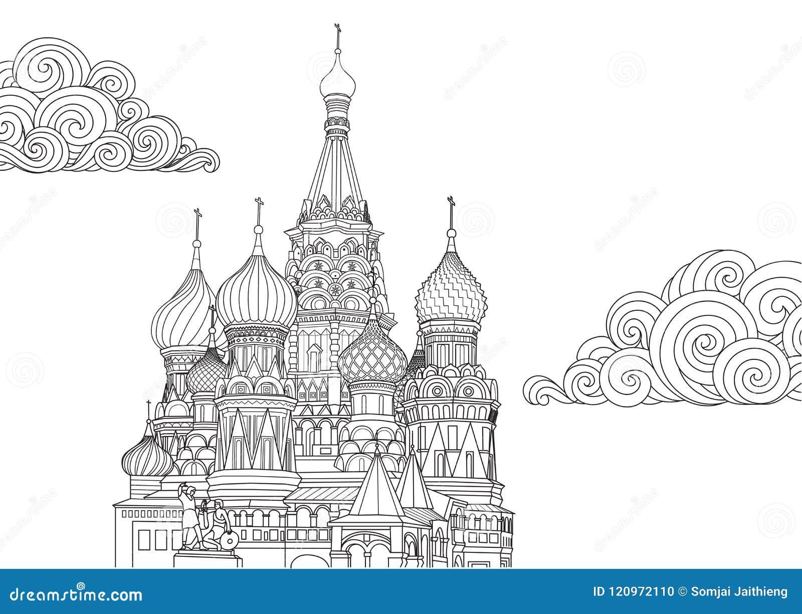 Het ontwerp van de lijnkunst van het Basilicum van Heilige in Moskou, Rusland voor ontwerpelement en kleurende boekpagina Vector