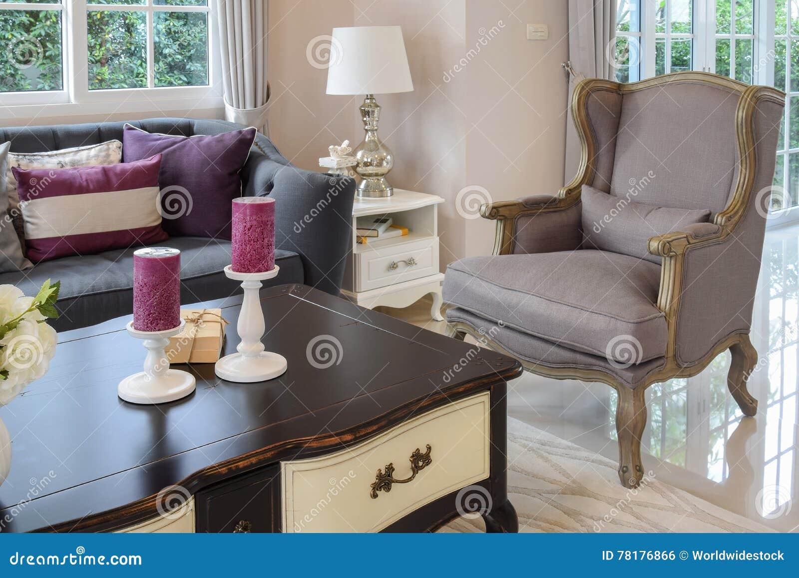 Het ontwerp van de luxewoonkamer met klassieke bank leunstoel en