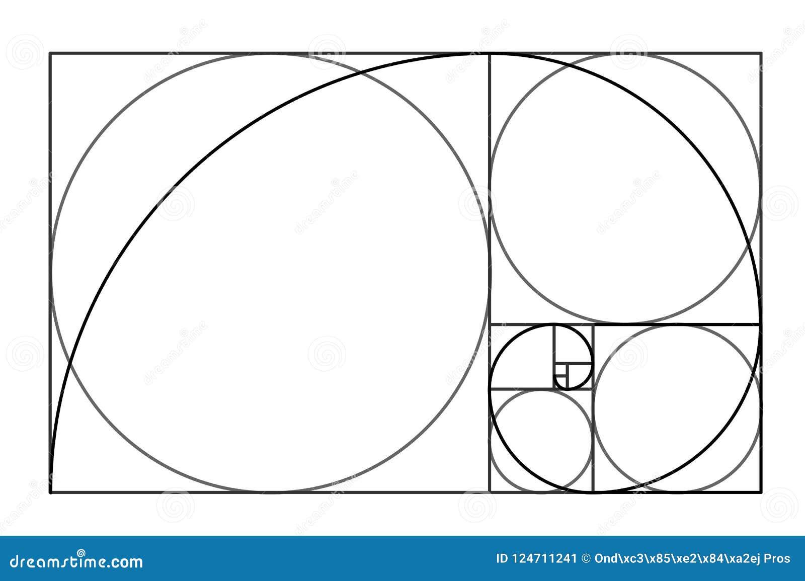 Het ontwerp van de Minimalisticstijl Gouden verhouding Geometrische vormen Cirkels in gouden aandeel Futuristisch ontwerp embleem