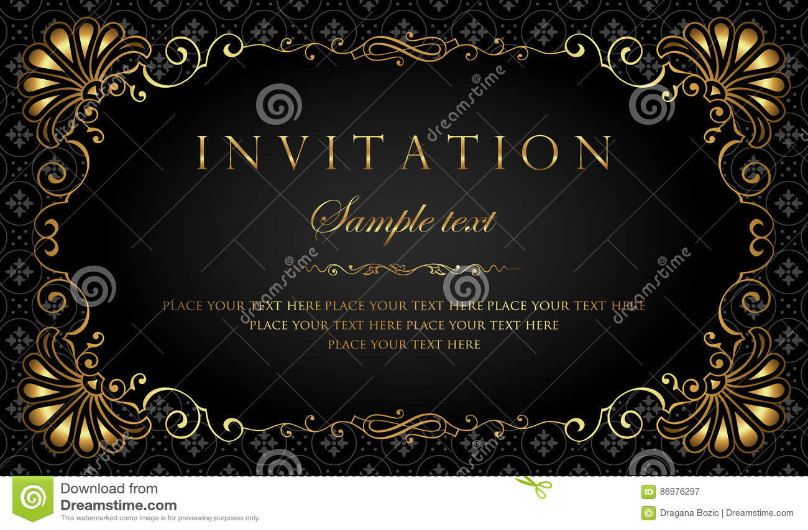 Het ontwerp van de uitnodigingskaart - luxe zwarte en gouden uitstekende stijl