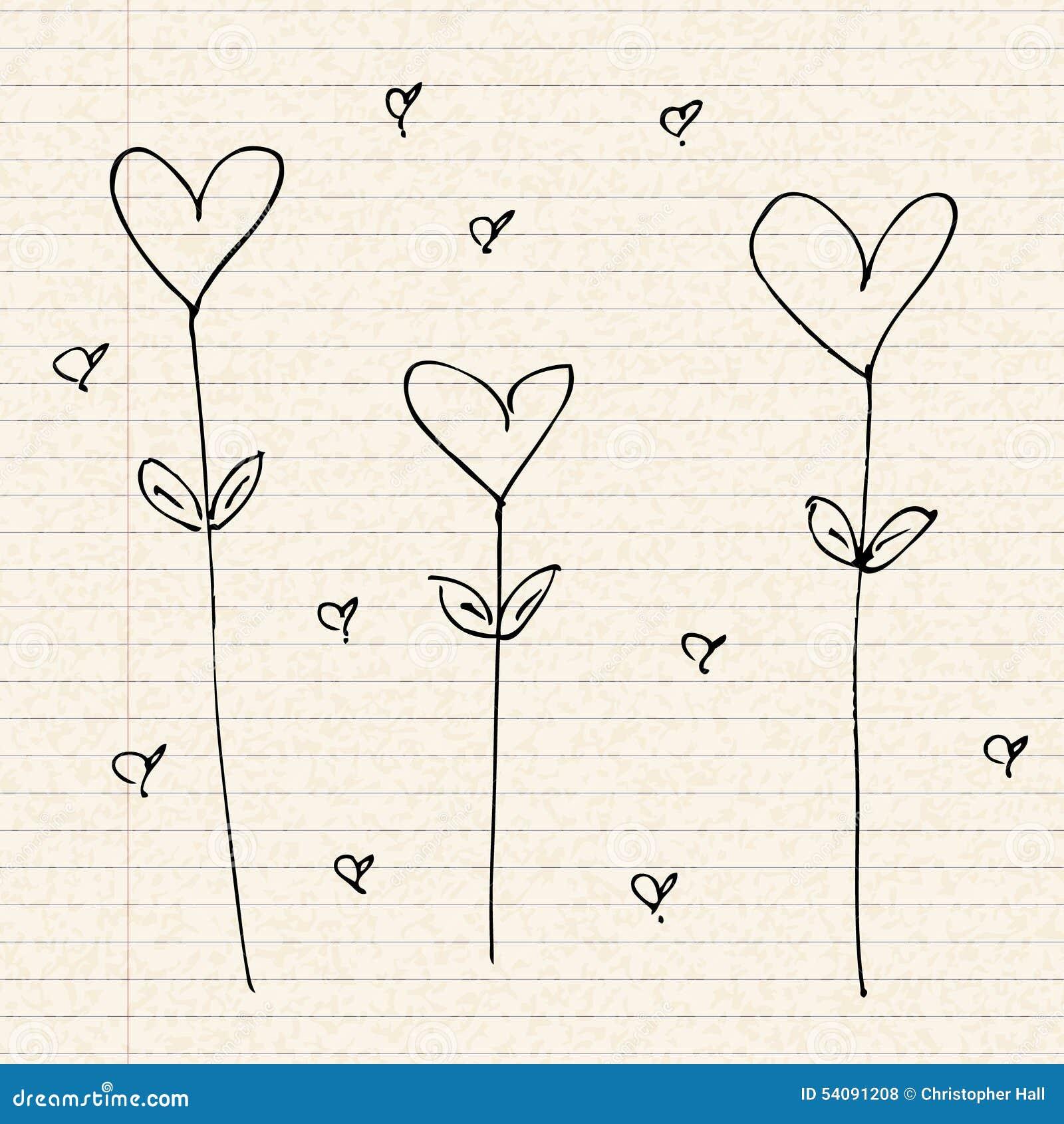 Het ontwerp van het liefdehart op gevoerd document