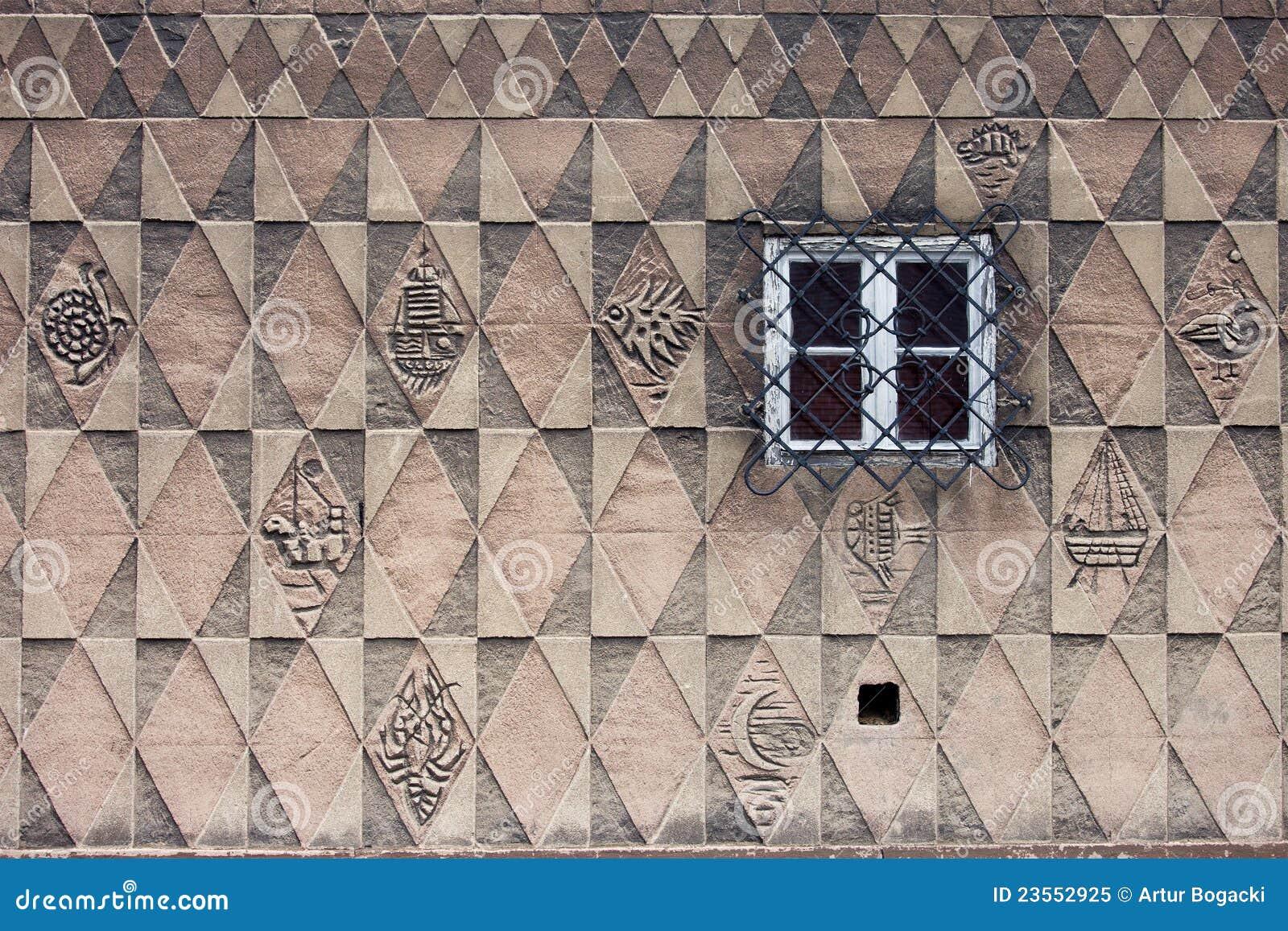 Het Ontwerp Van Het Patroon Op De Muur Van Het Huis Royalty-vrije ...