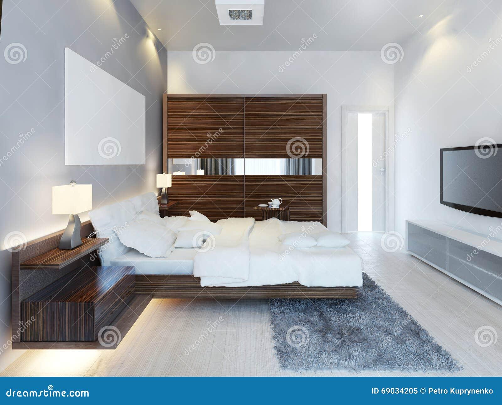 Moderne Slaapkamer Ontwerpen : Het ontwerp van moderne lichte slaapkamer met een grote glijdende